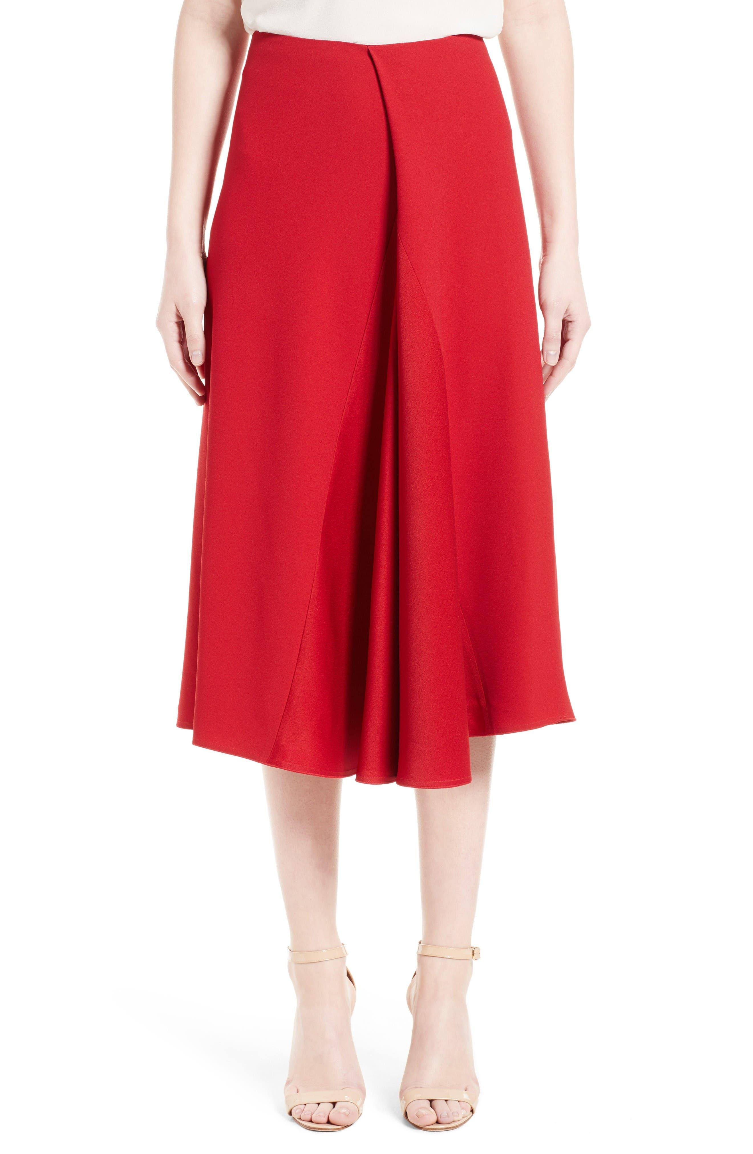 Satin Crepe Godet Skirt,                         Main,                         color, Red