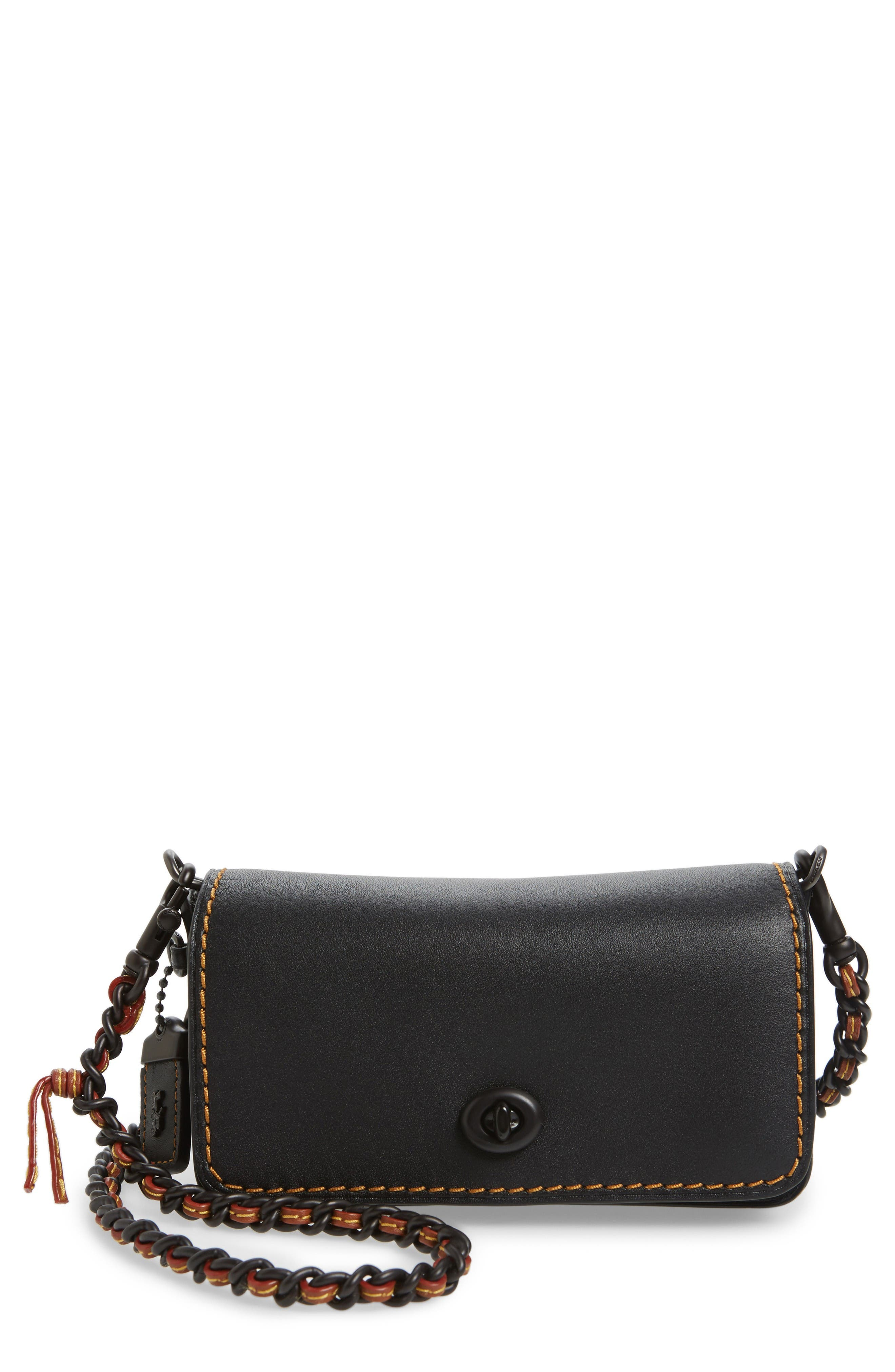 Dinky 15 Leather Crossbody Bag,                             Main thumbnail 1, color,                             Black