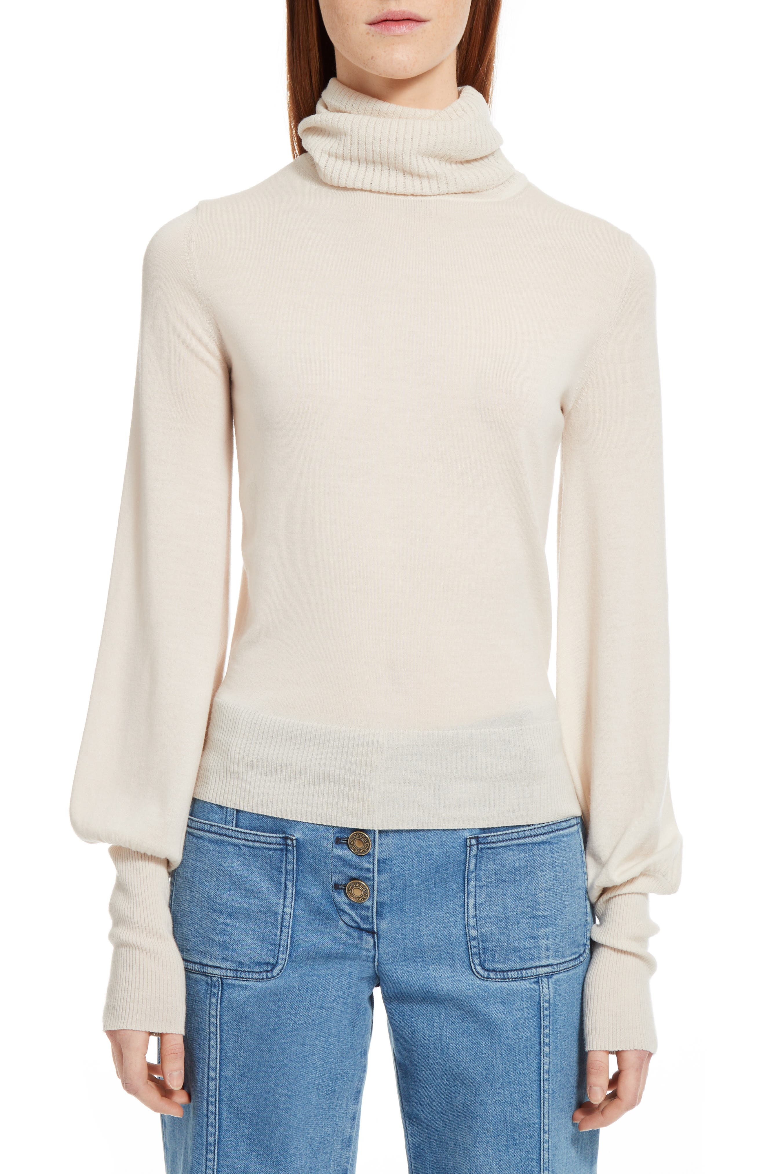 Wool Turtleneck Sweater,                             Main thumbnail 1, color,                             Off White