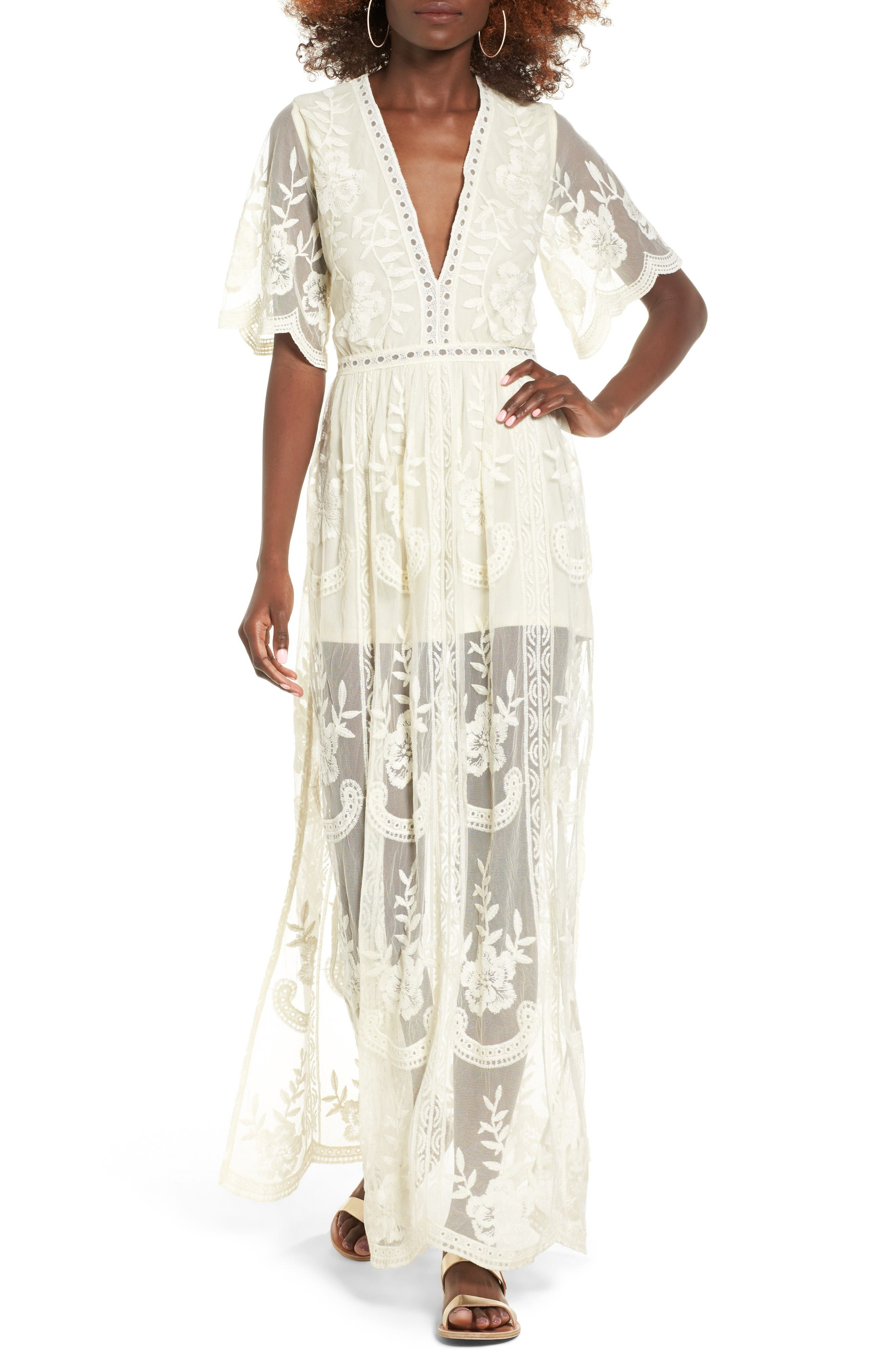 Lace Overlay Romper,                         Main,                         color, Ivory