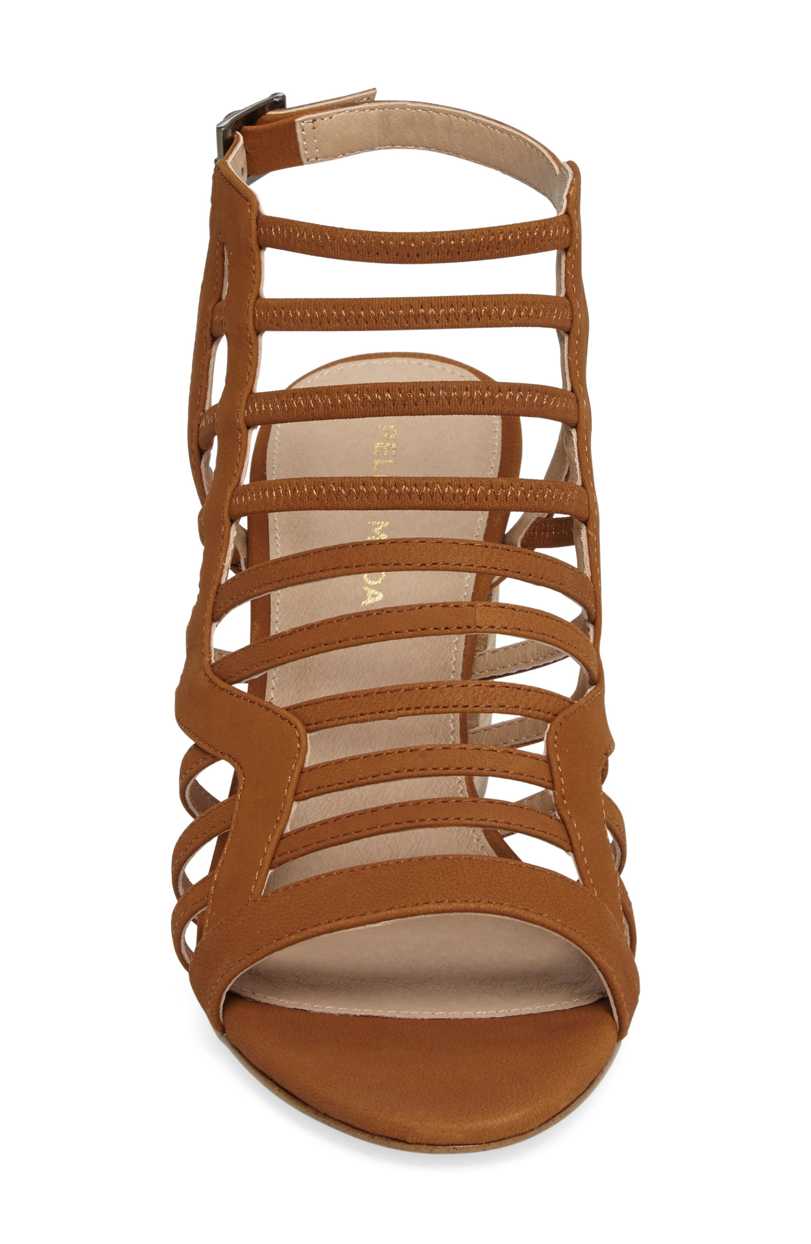 Bonitta Cage Sandal,                             Alternate thumbnail 4, color,                             Luggage Leather