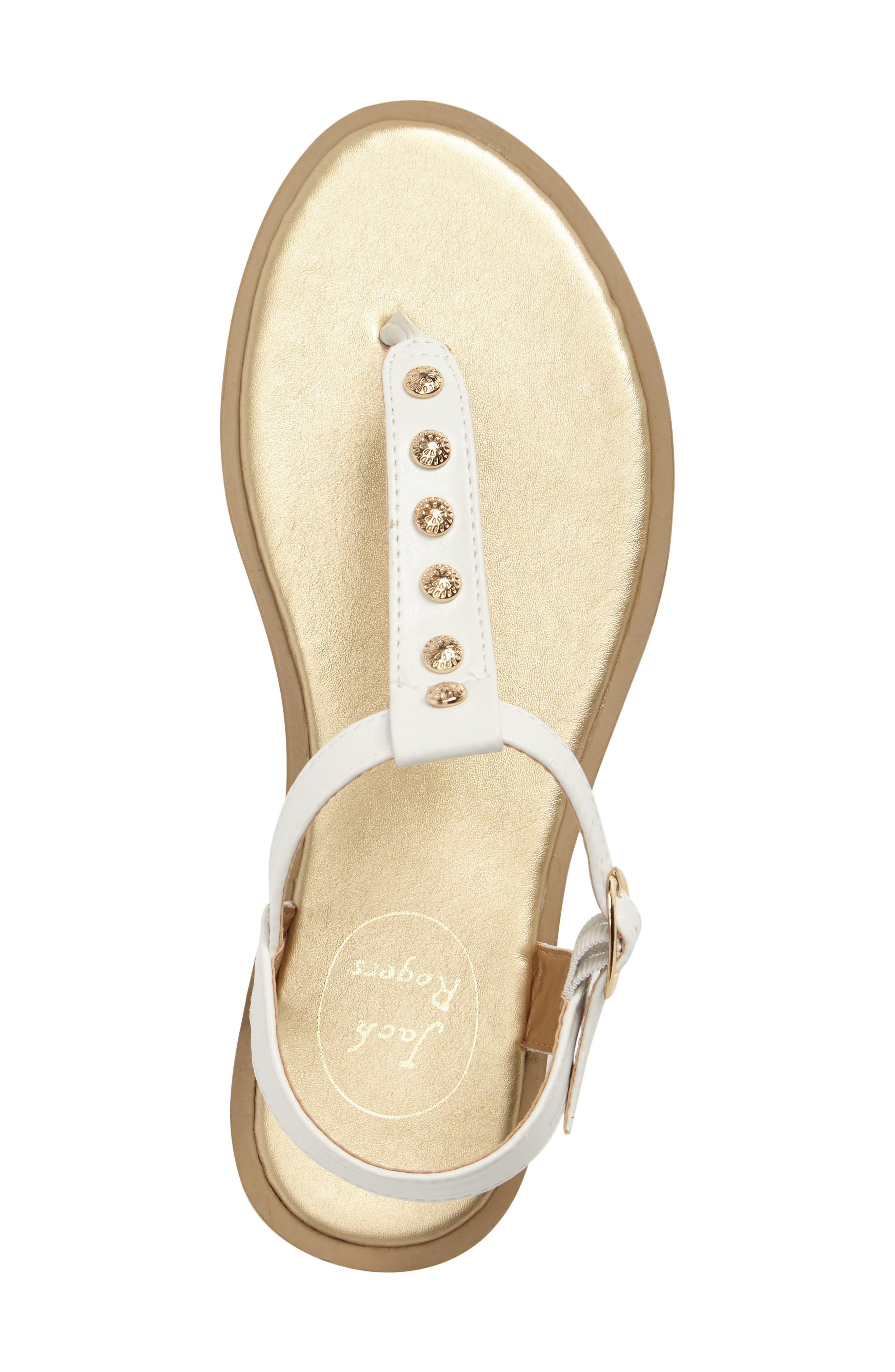 Kamri T-Strap Sandal,                             Alternate thumbnail 5, color,                             White Leather