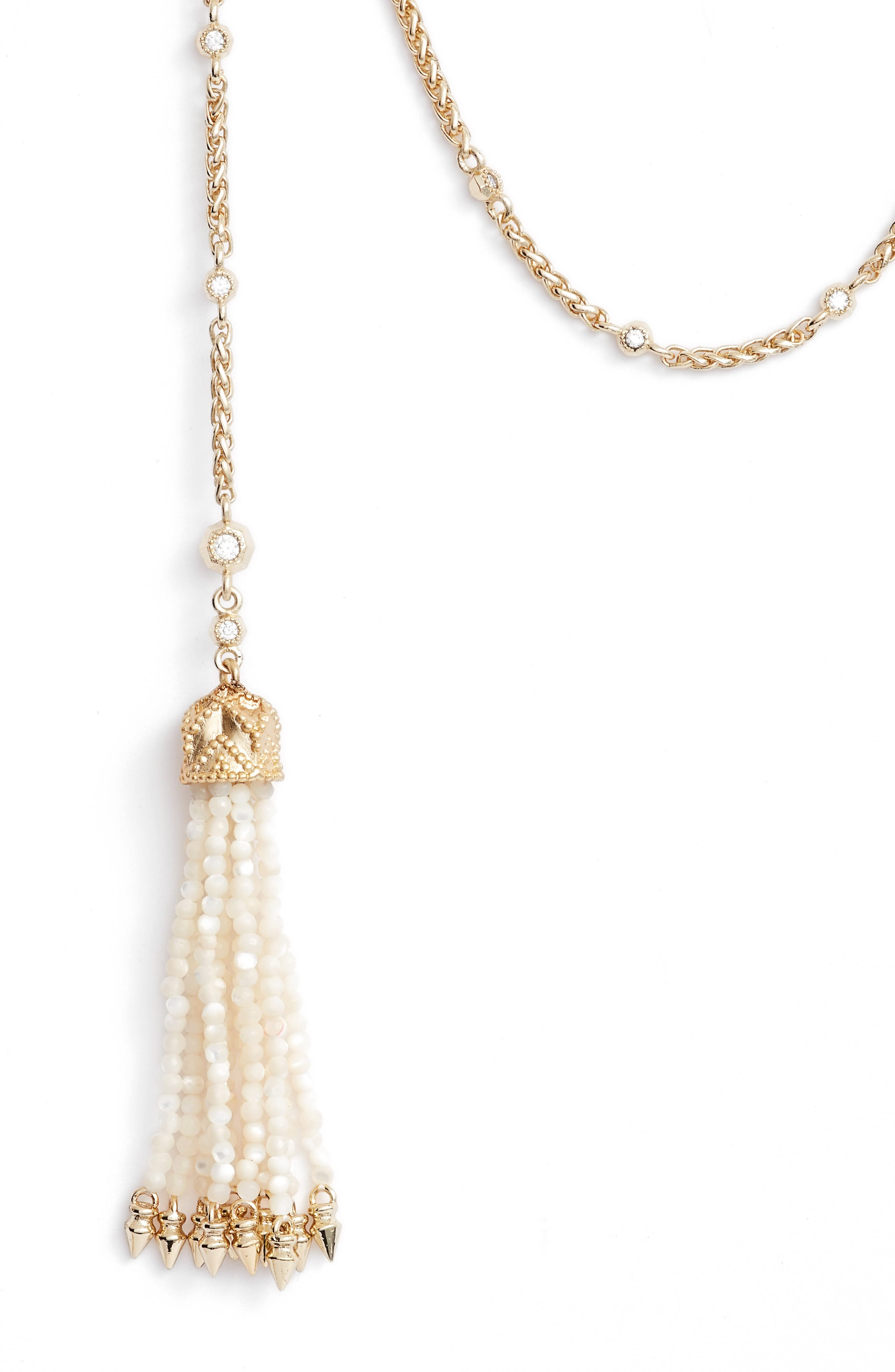 Monique Tassel Necklace,                             Alternate thumbnail 2, color,                             Ivory Mop/ Gold