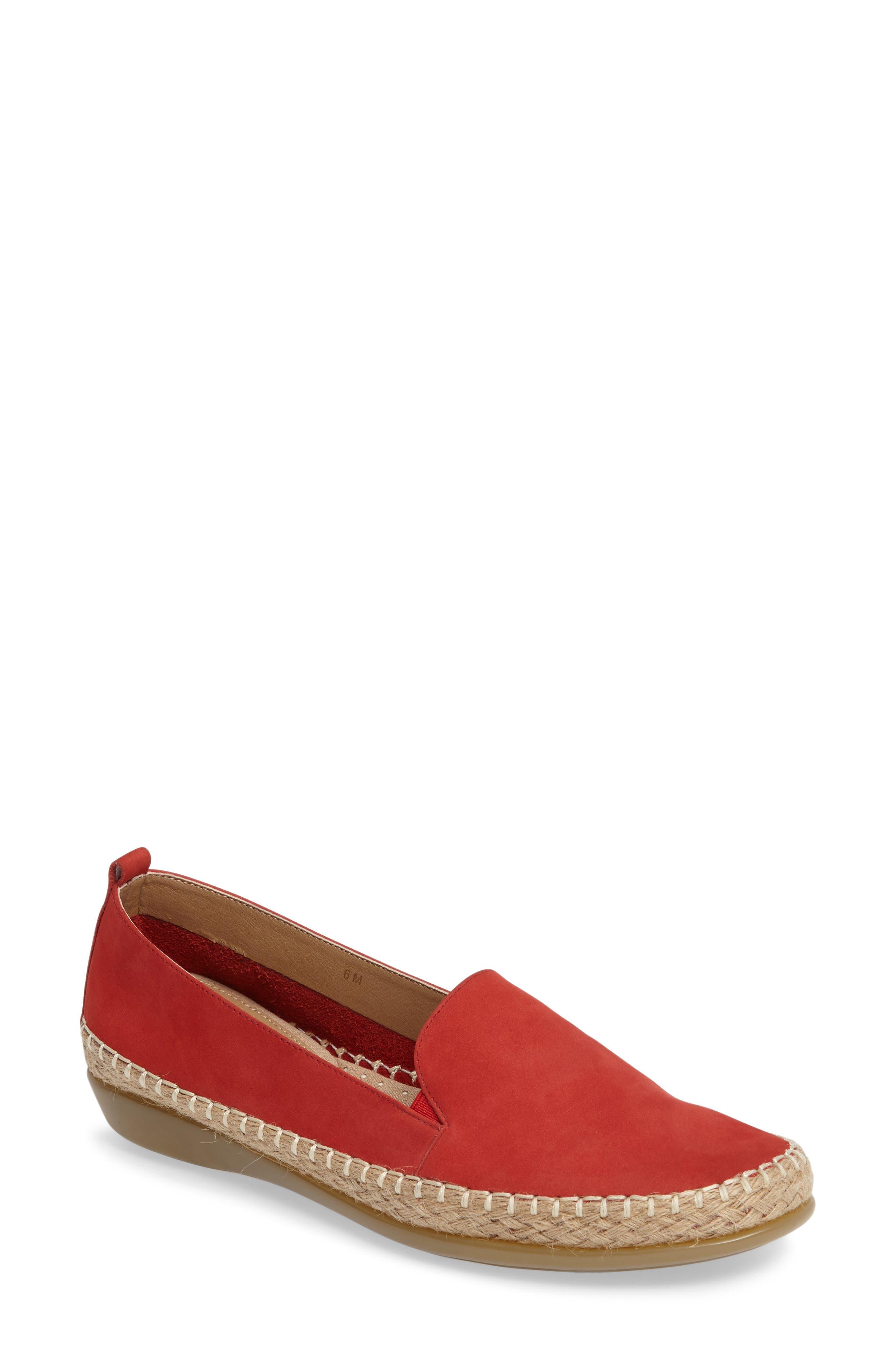 Nadette Espadrille Loafer Flat,                         Main,                         color, Red Leather