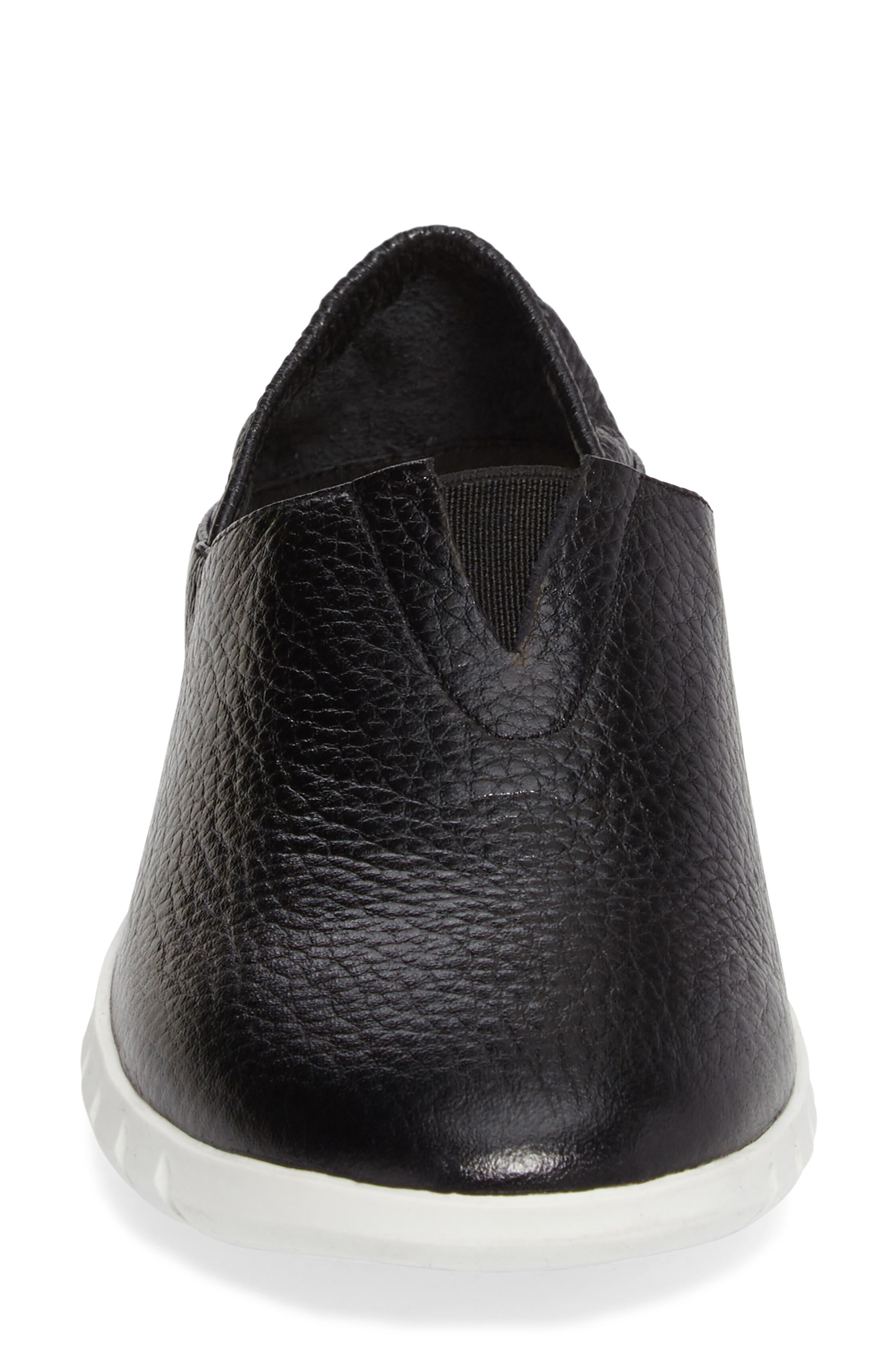 Kim Slip-On Sneaker,                             Alternate thumbnail 4, color,                             Black Leather