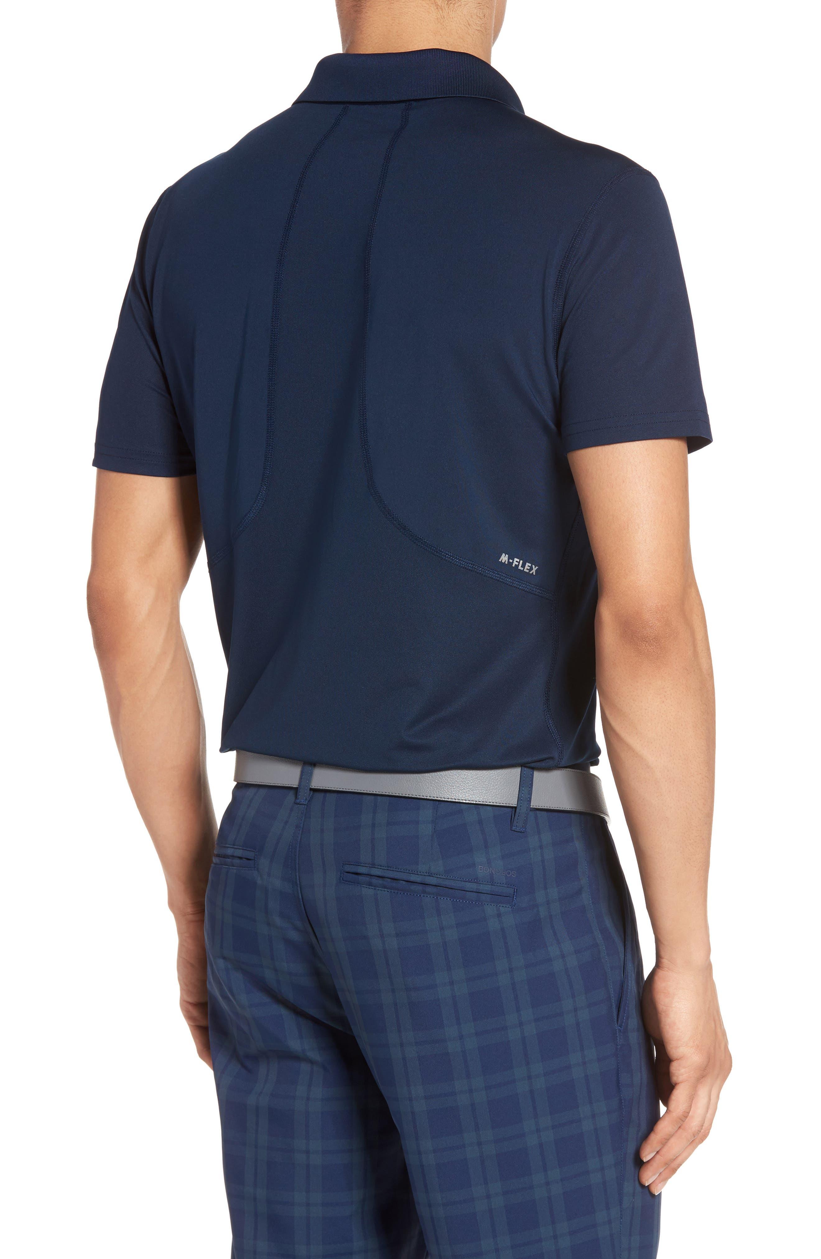 M-Flex Flatiron Slim Fit Golf Polo,                             Alternate thumbnail 2, color,                             Navy