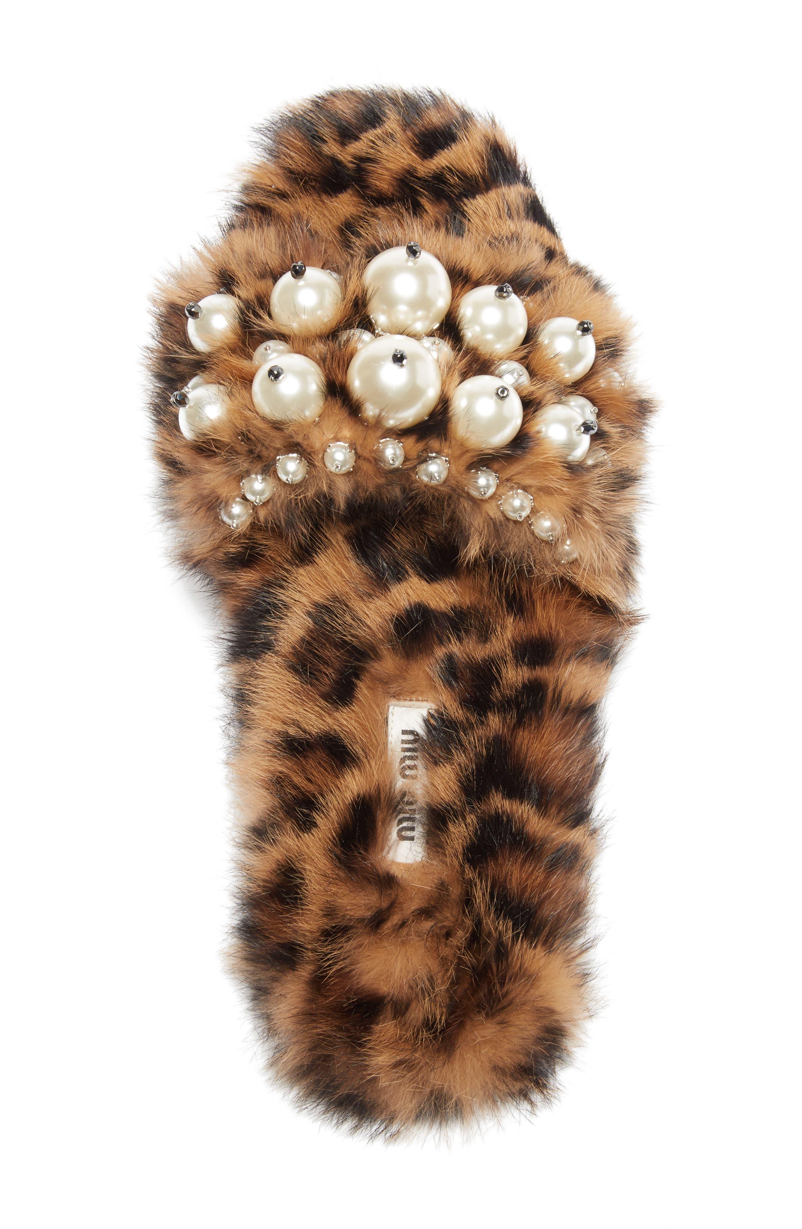 Genuine Rabbit Fur Slide Sandal,                             Alternate thumbnail 3, color,                             Brown