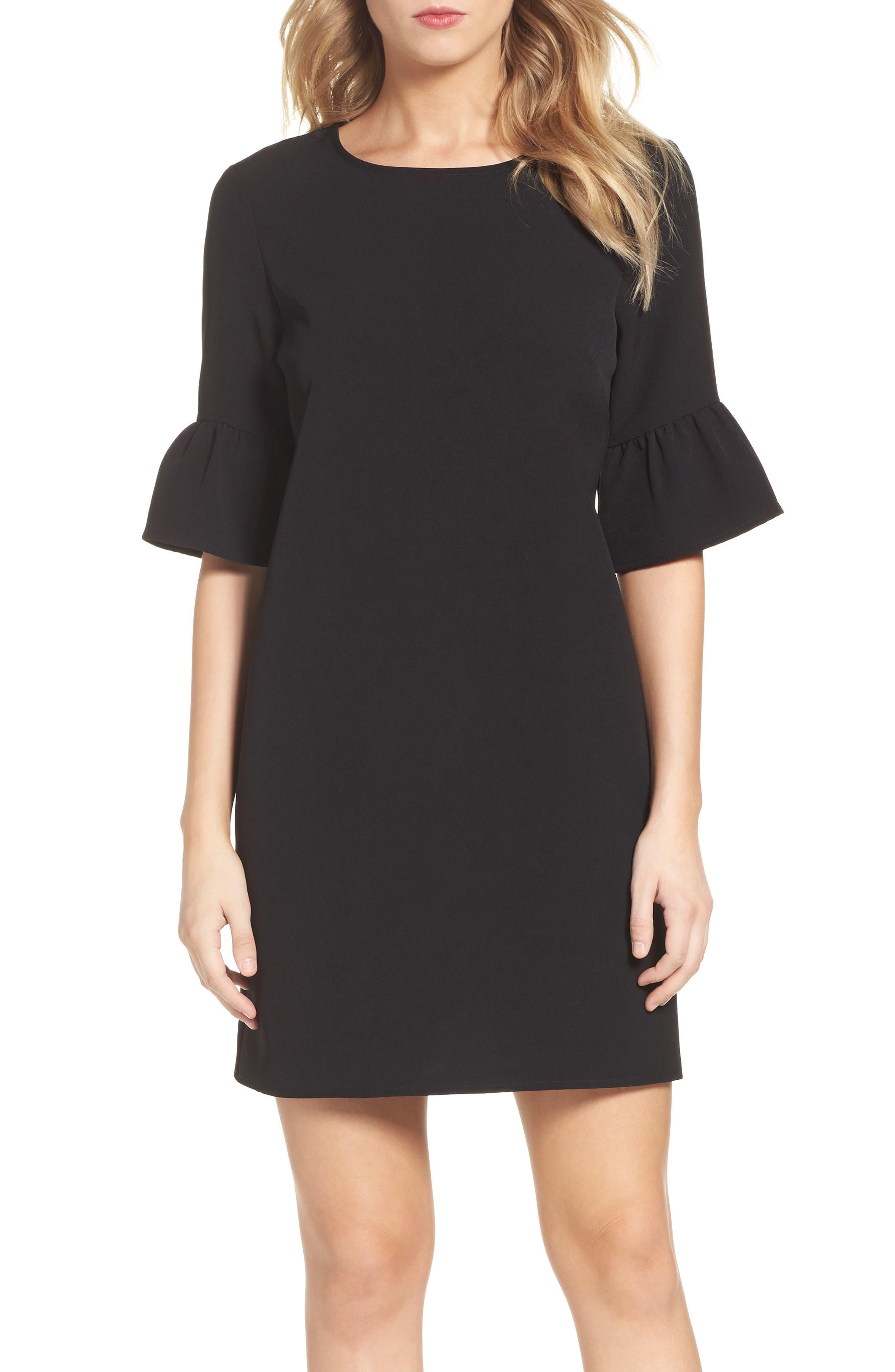 Alternate Image 1 Selected - Charles Henry Bell Sleeve Shift Dress (Regular & Petite)