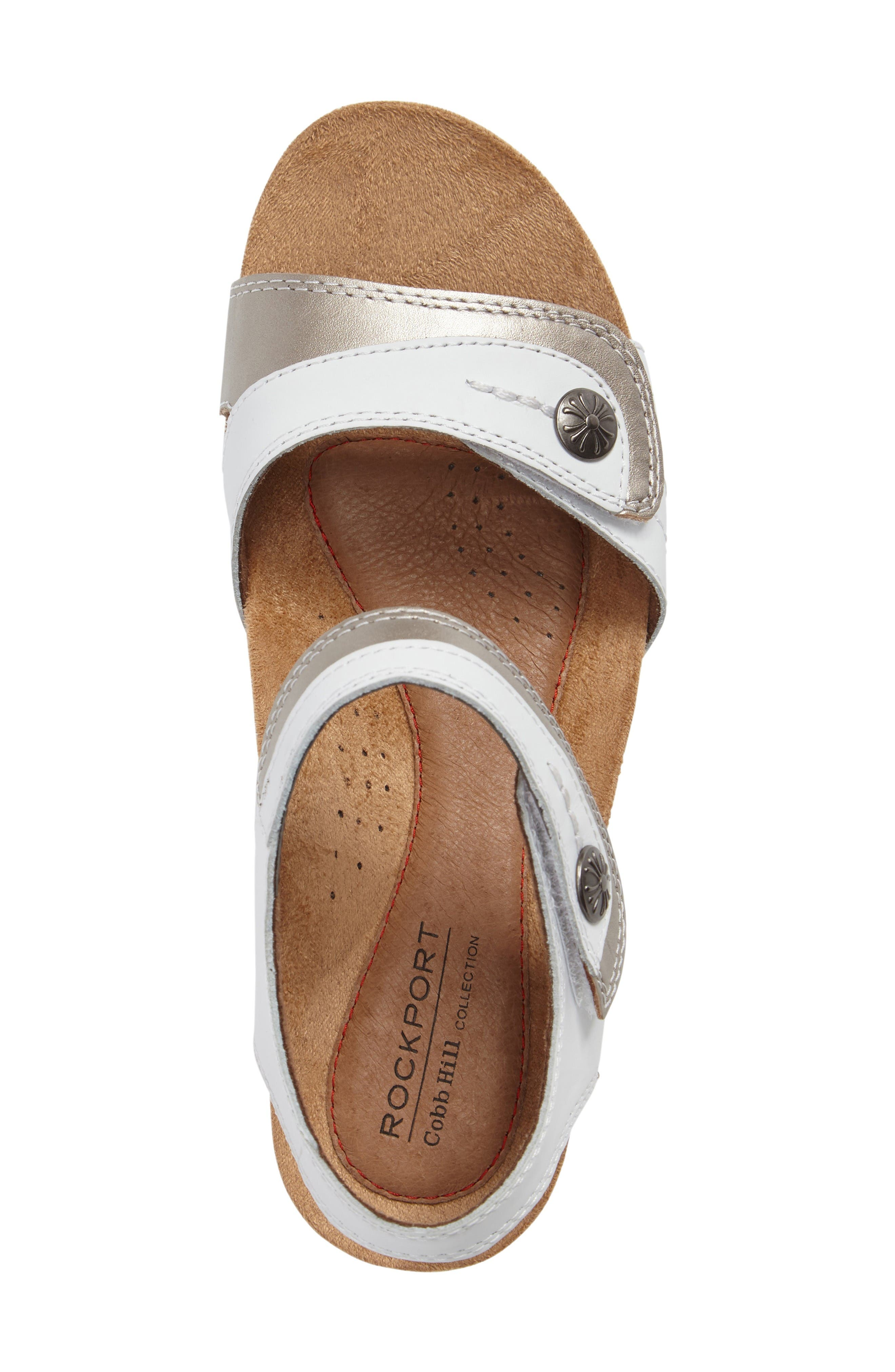 Hollywood Wedge Sandal,                             Alternate thumbnail 5, color,                             White Leather