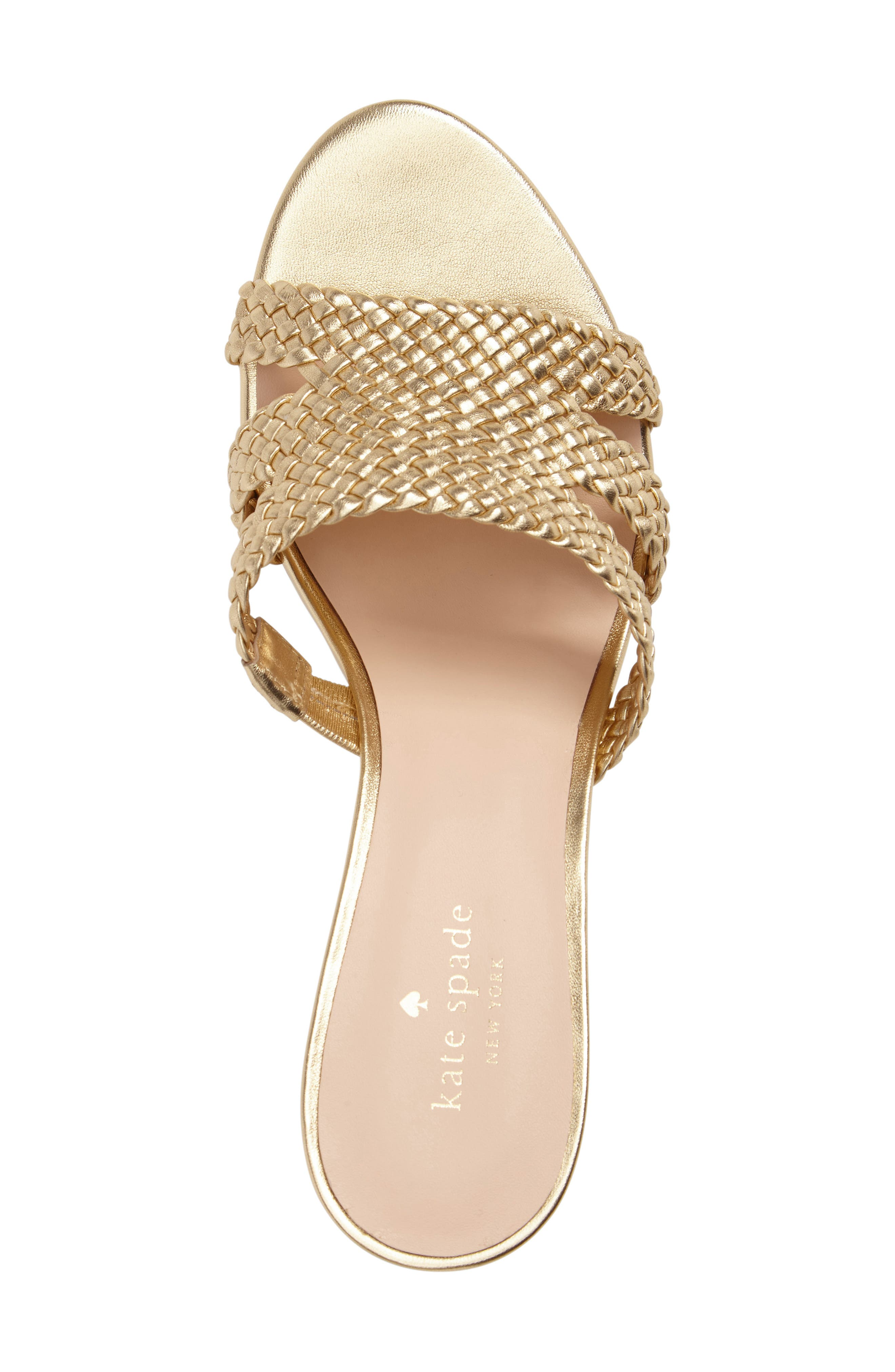 tarvela wedge sandal,                             Alternate thumbnail 5, color,                             Old Gold Woven Metallic Nappa