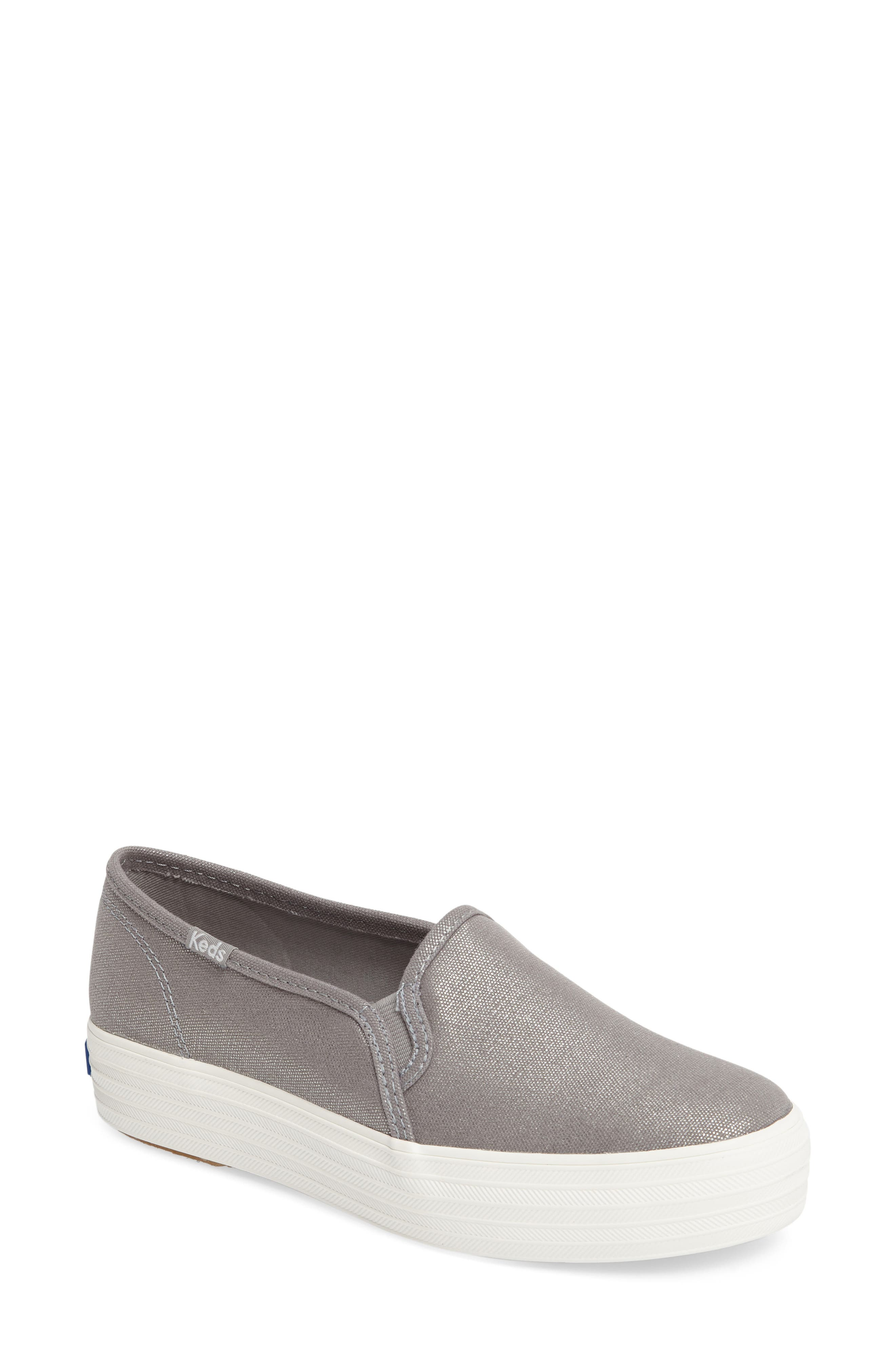 Triple Decker Slip-On Platform Sneaker,                         Main,                         color, Silver