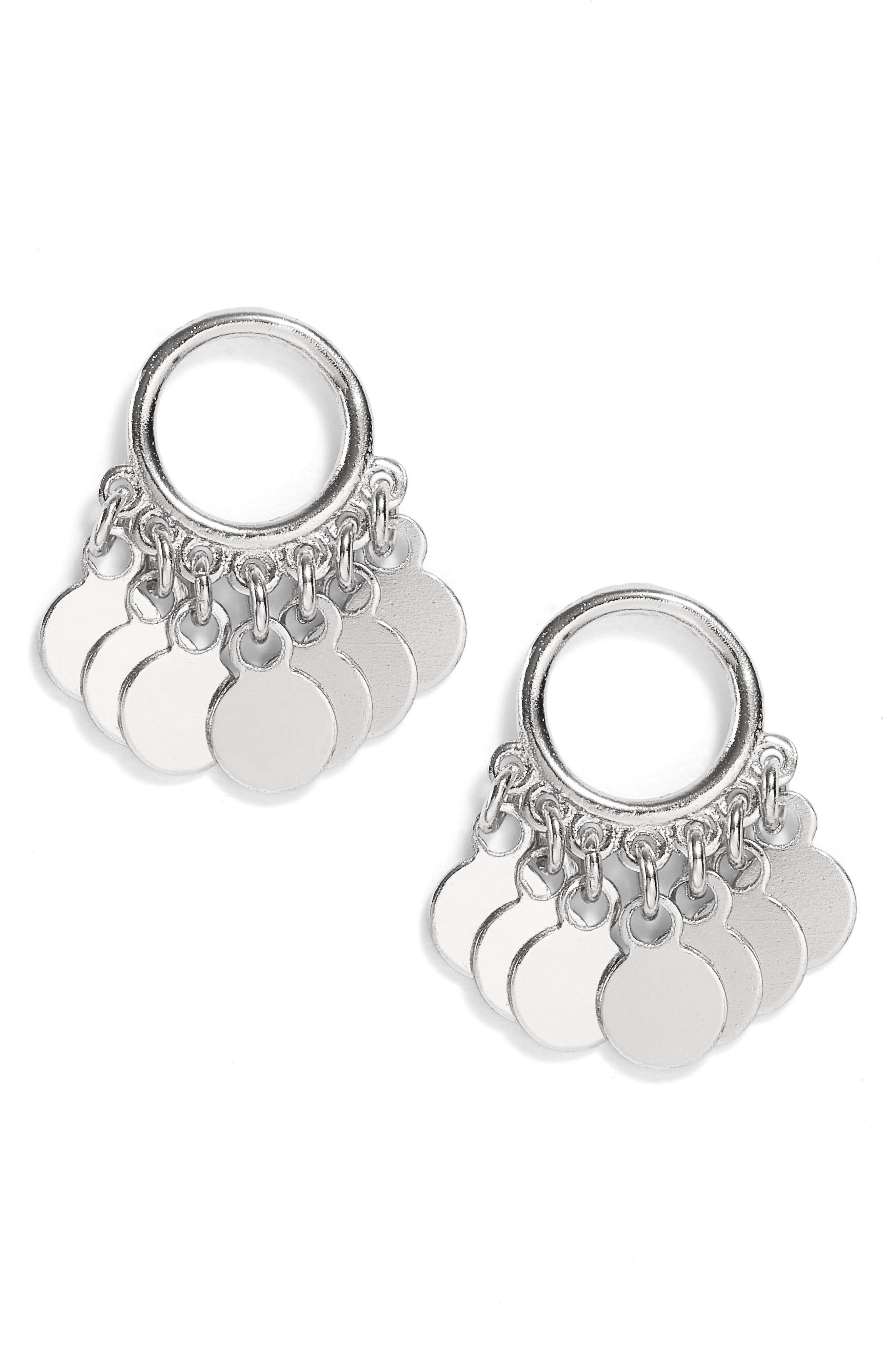 Vermeil Frontal Drop Earrings,                         Main,                         color, Silver