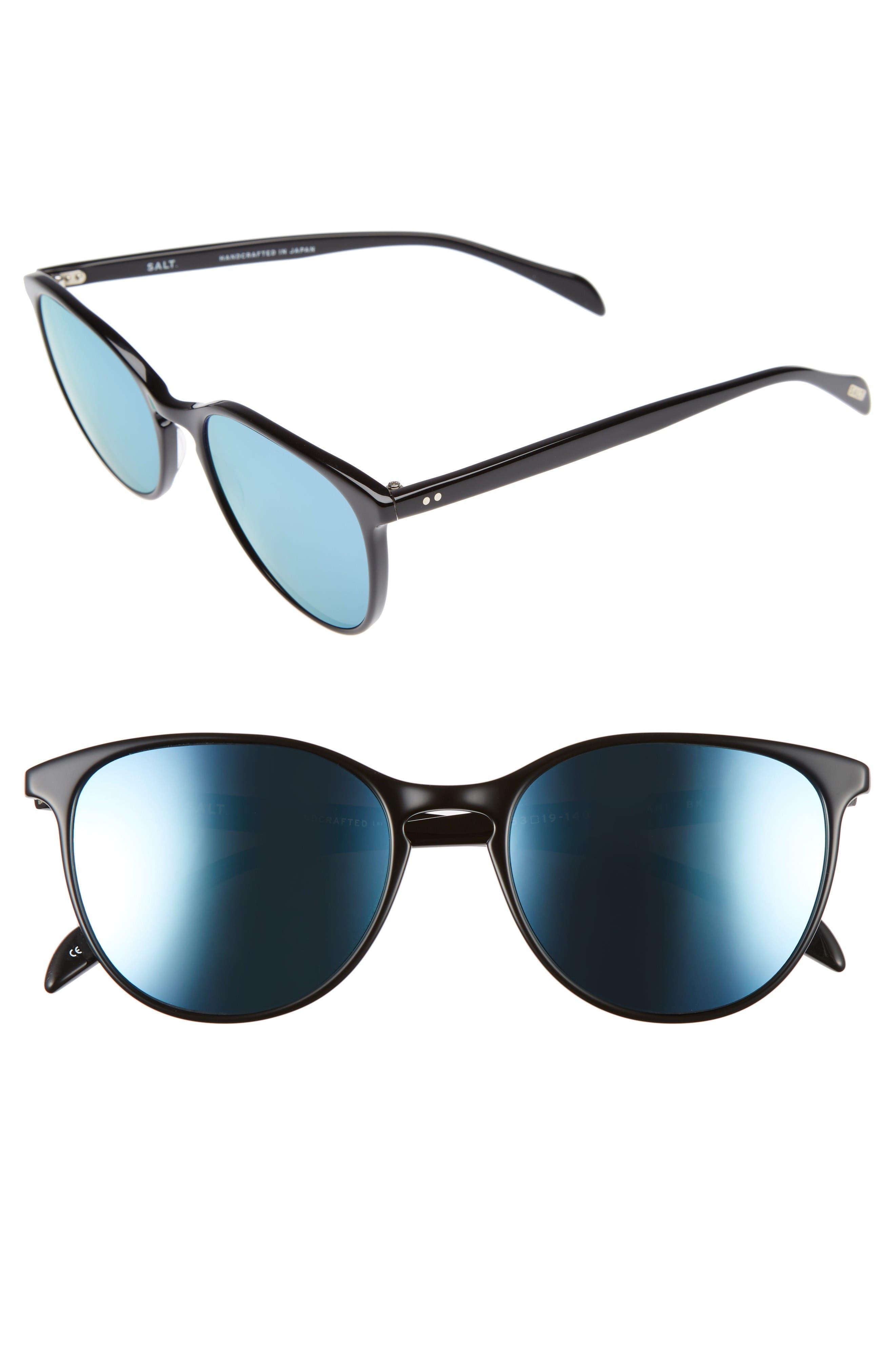 Kiani 53mm Polarized Retro Sunglasses,                         Main,                         color, Black/ Blue Mirror