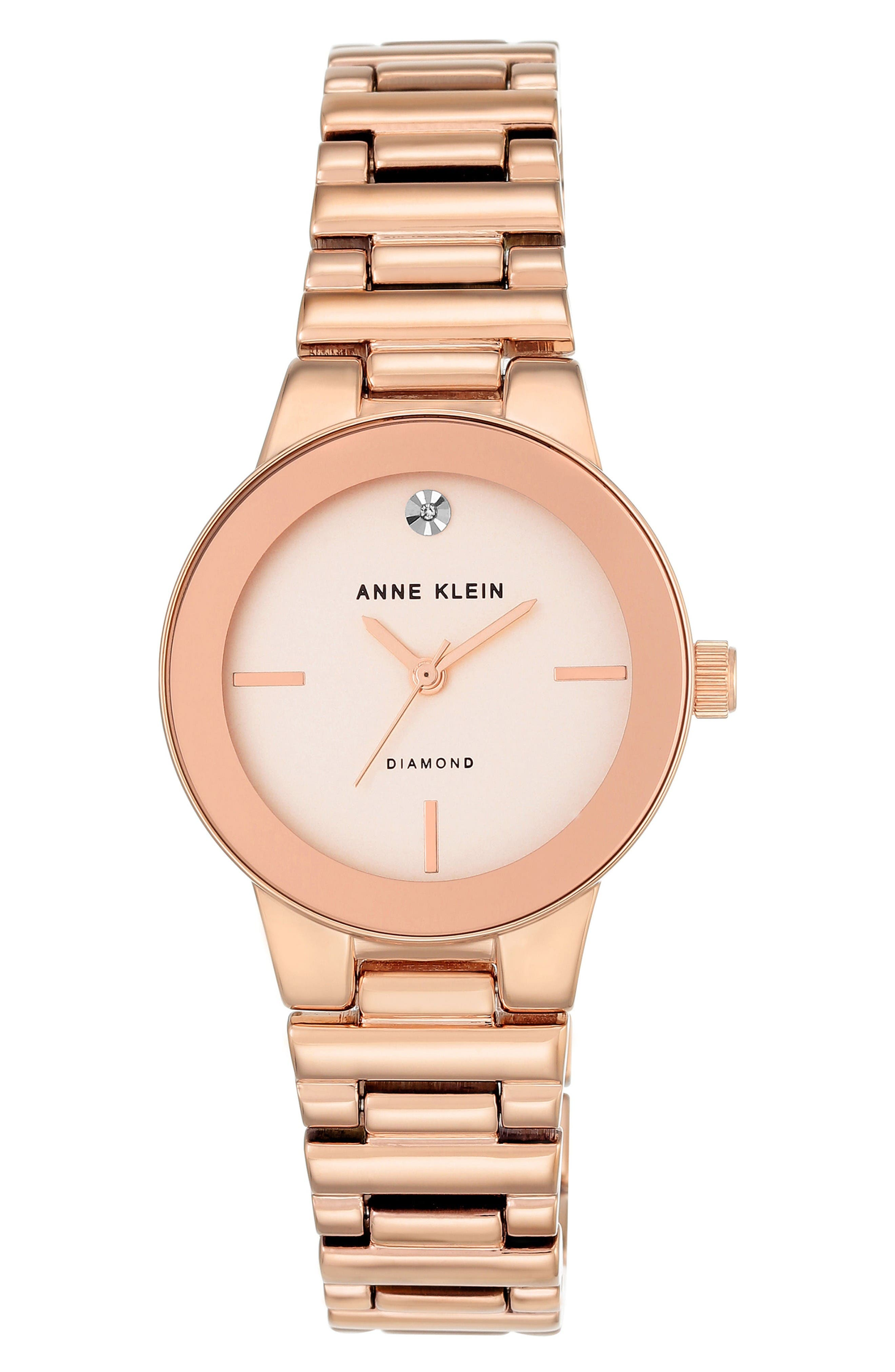 ANNE KLEIN Diamond Dial Bracelet Watch, 30mm