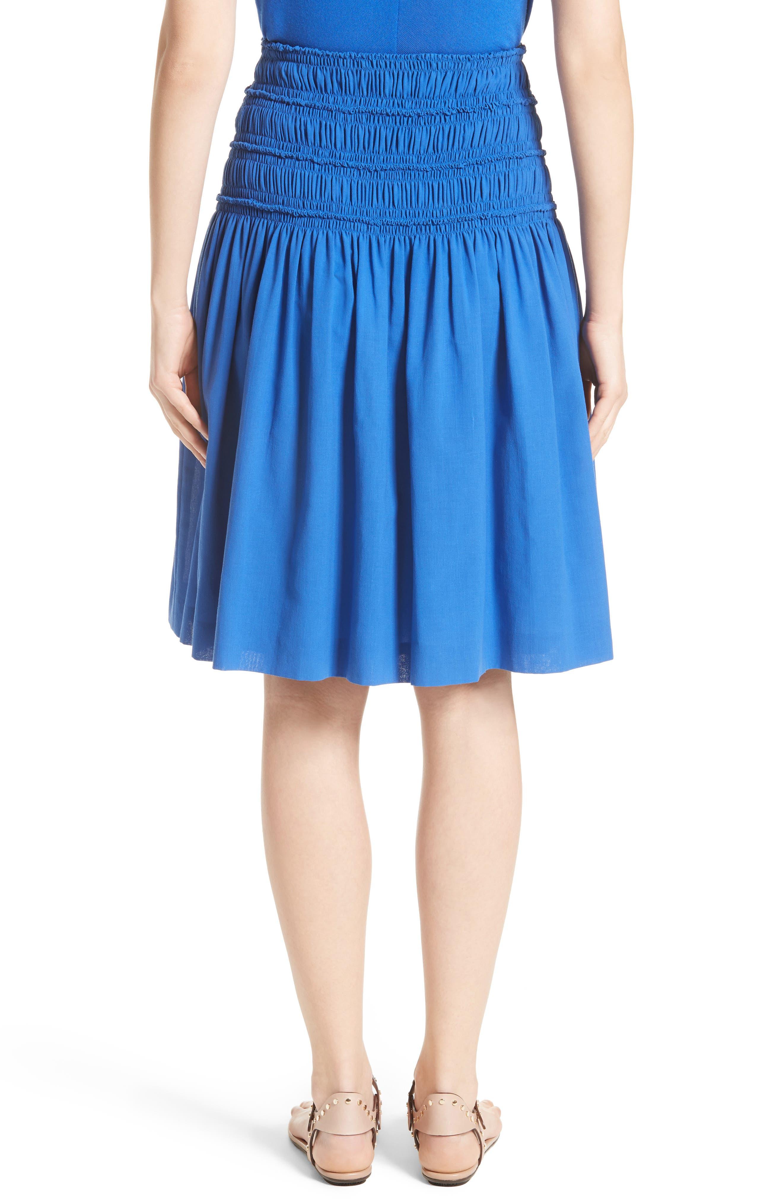 Akris Smocked Ruffle Skirt,                             Alternate thumbnail 2, color,                             Blue
