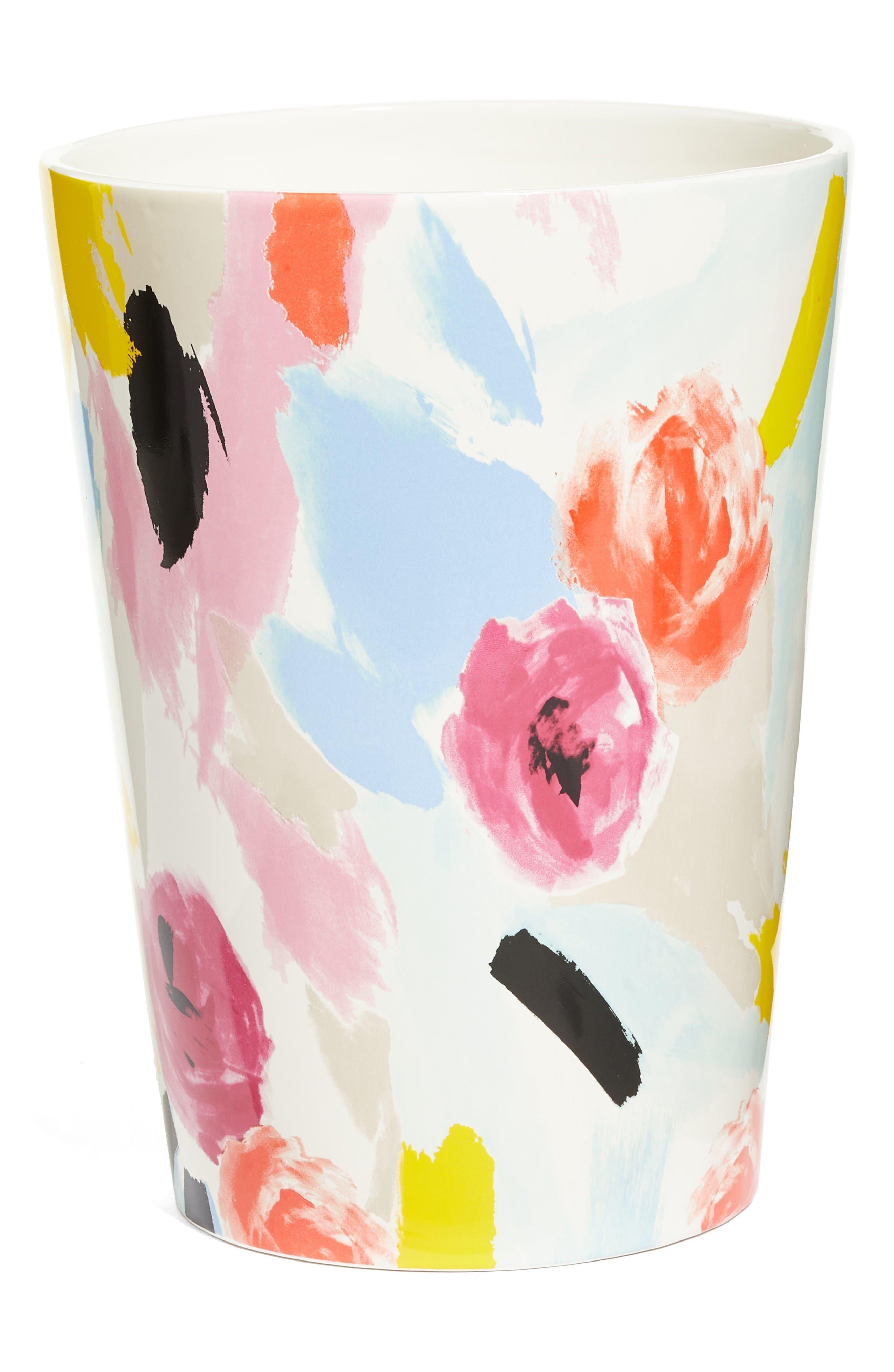 paintball floral waste basket,                         Main,                         color, Black/ White