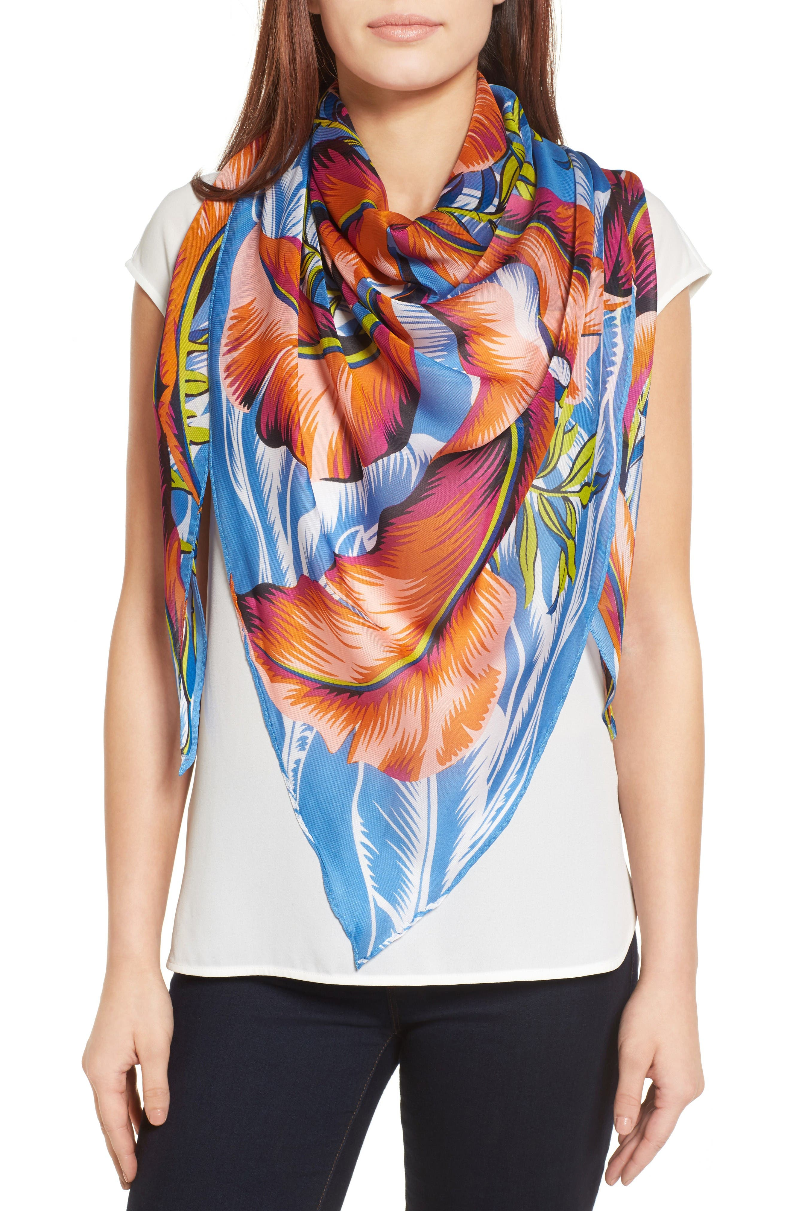Alternate Image 1 Selected - Echo Palm Print Silk Triangle Scarf