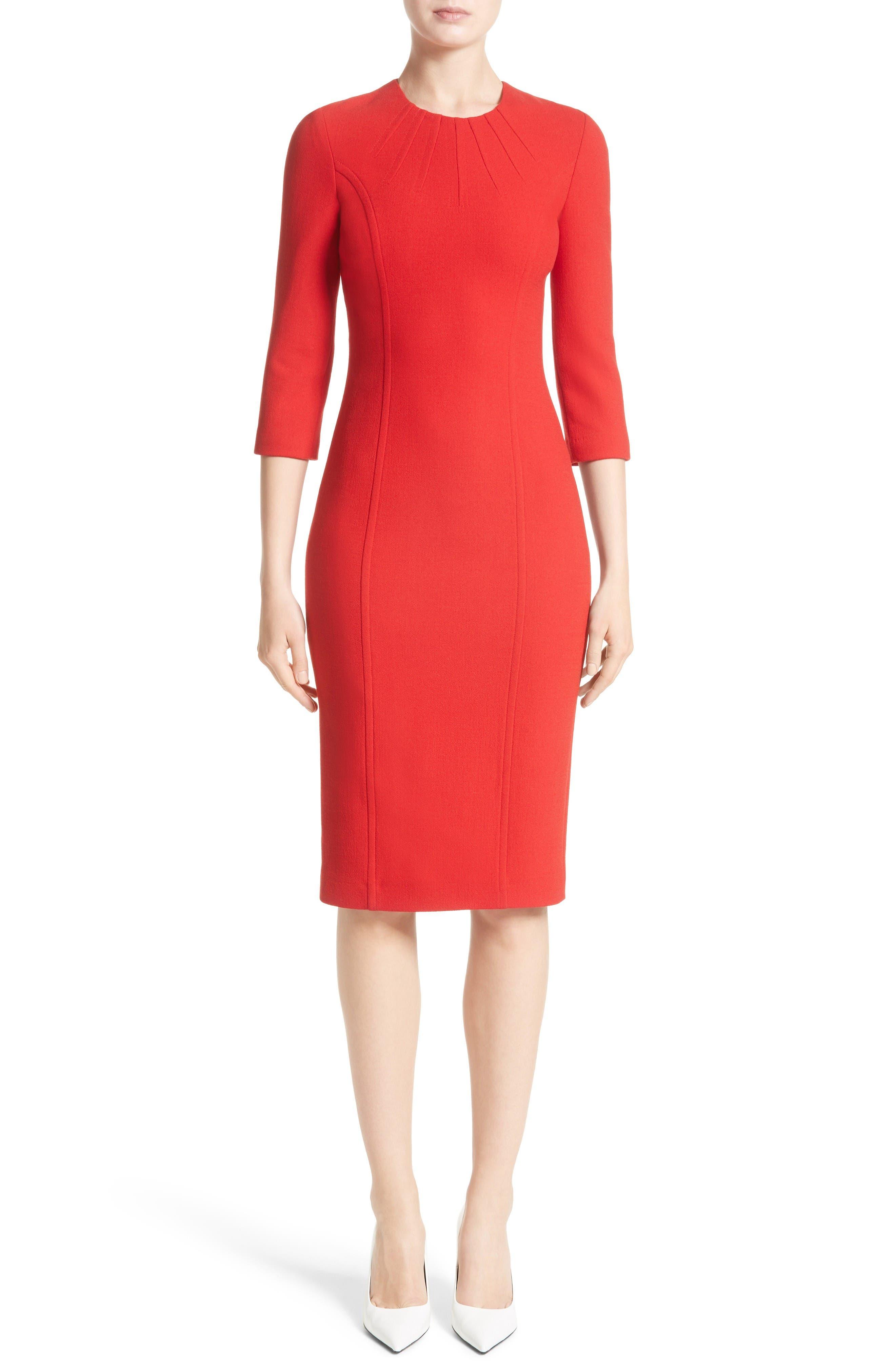 Stretch Wool Bouclé Sheath Dress,                         Main,                         color, Crimson