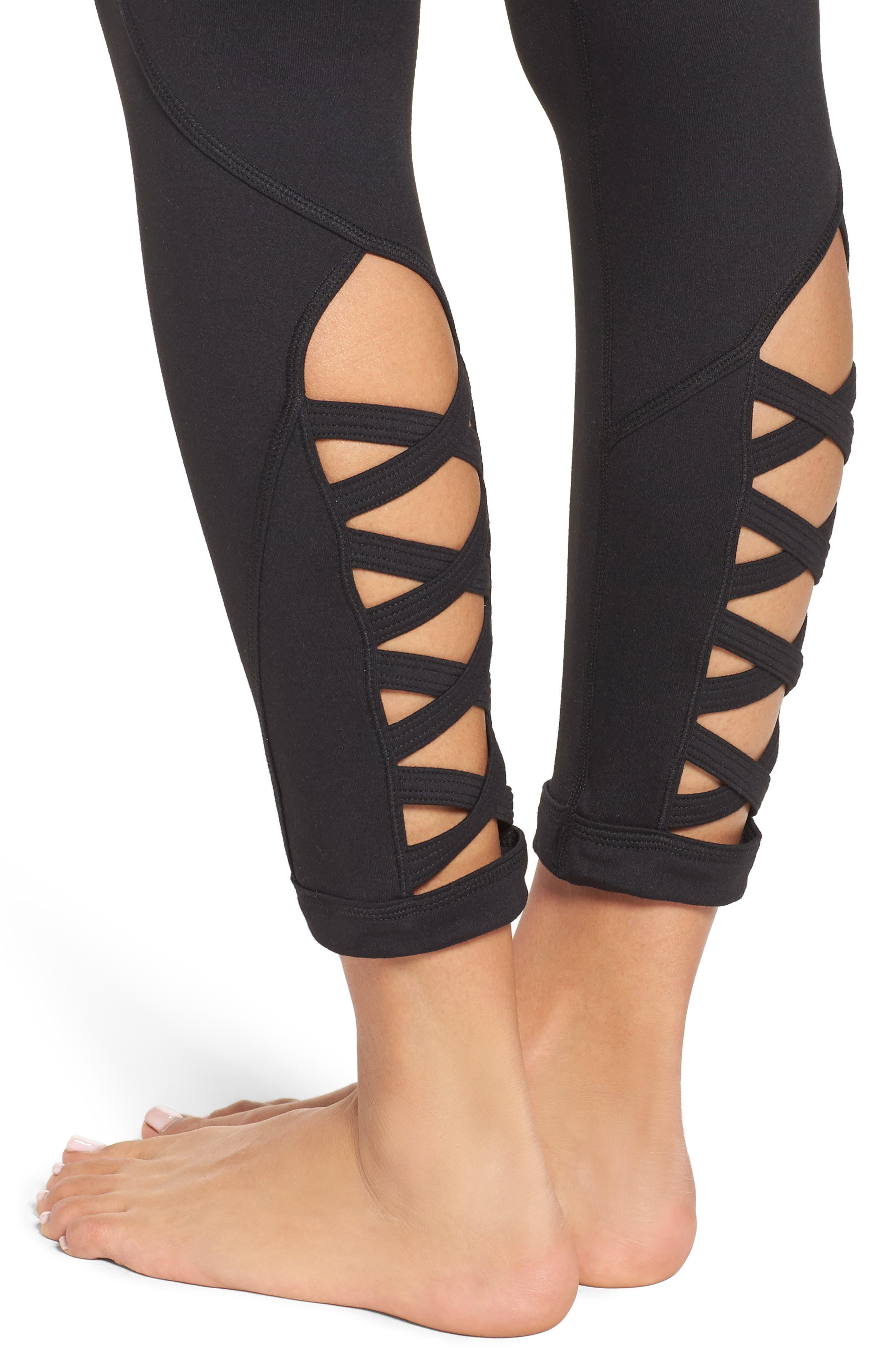 Alternate Image 4  - Zella High Waist Lattice Midi Leggings