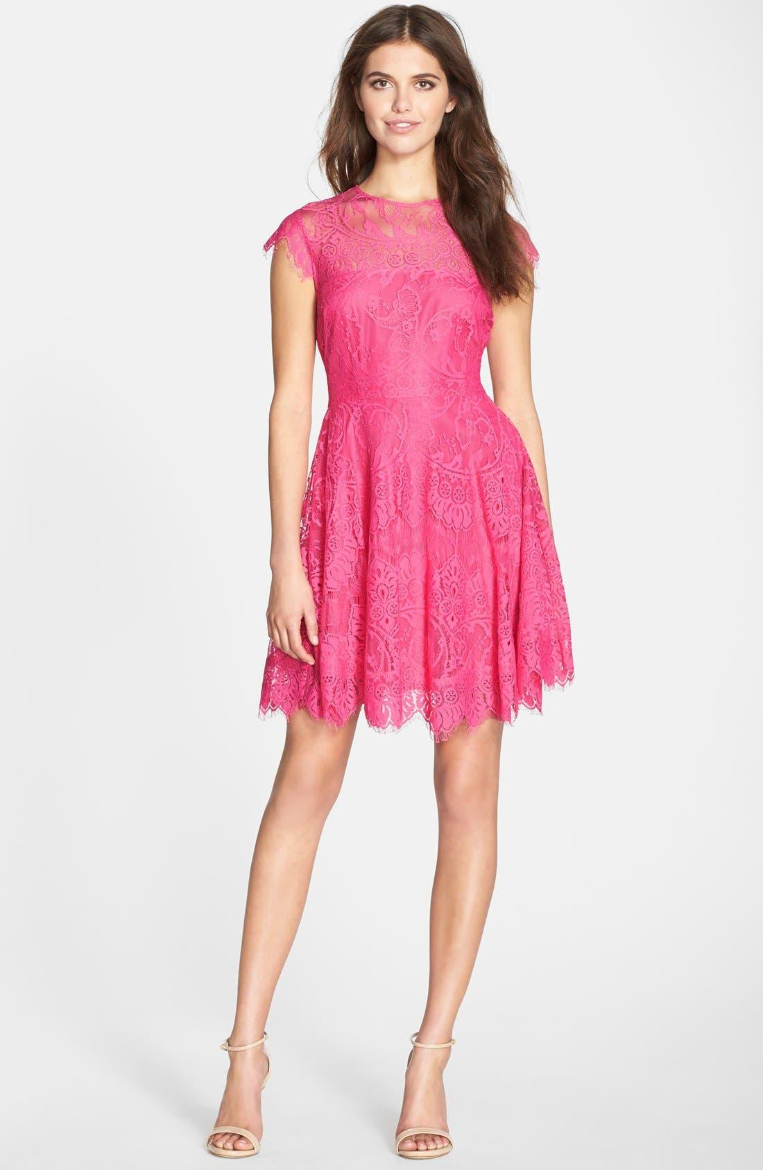 'Rhianna' Illusion Yoke Lace Fit & Flare Dress,                             Alternate thumbnail 3, color,                             Fuchsia/ Rose
