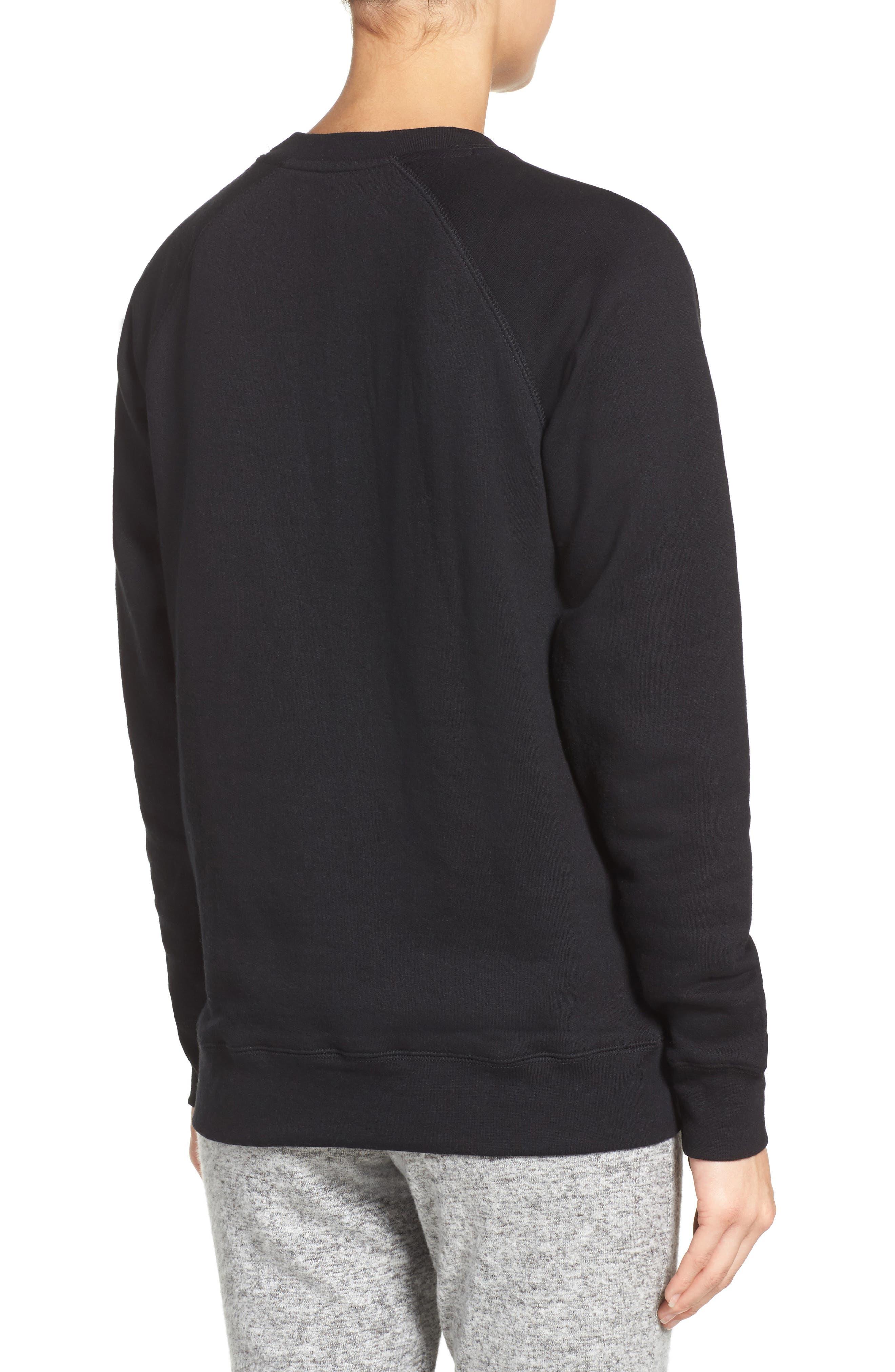 Brunette 'Coffee Now' Crewneck Sweatshirt,                             Alternate thumbnail 2, color,                             Black