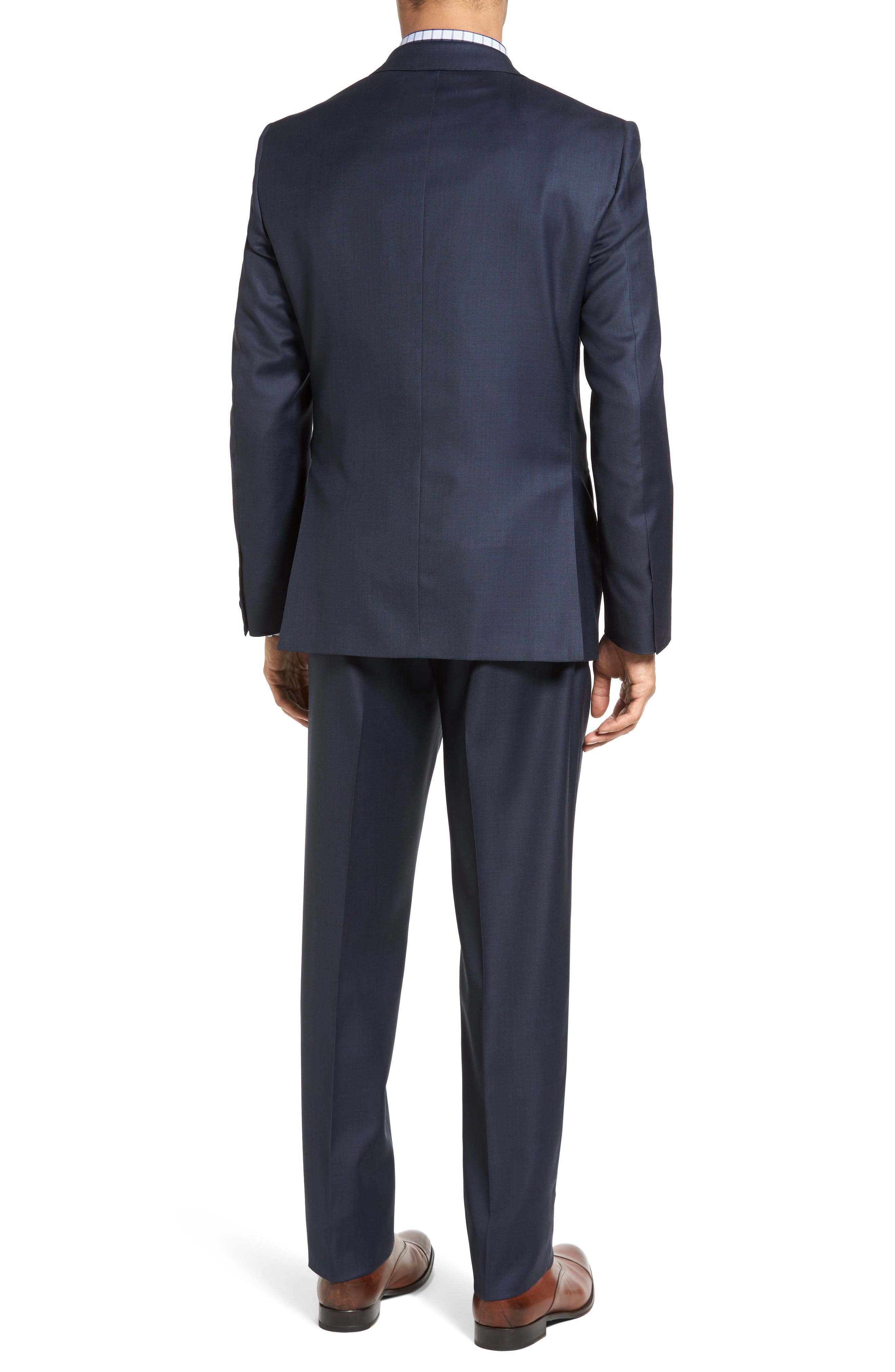 Classic Fit Sharkskin Wool Suit,                             Alternate thumbnail 2, color,                             Navy