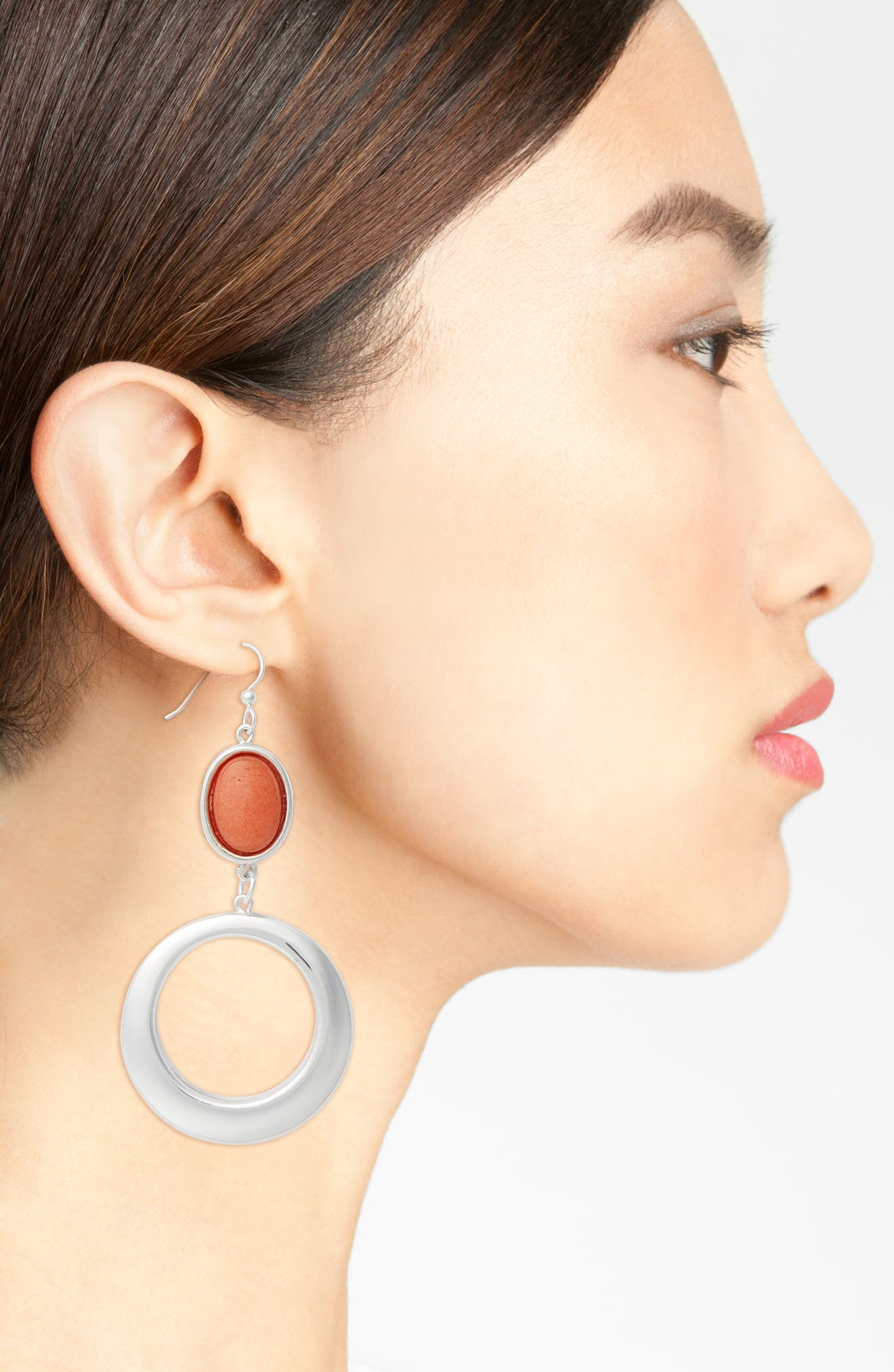 Semiprecious Stone Hoop Drop Earrings,                             Alternate thumbnail 2, color,                             Orange/ Silver
