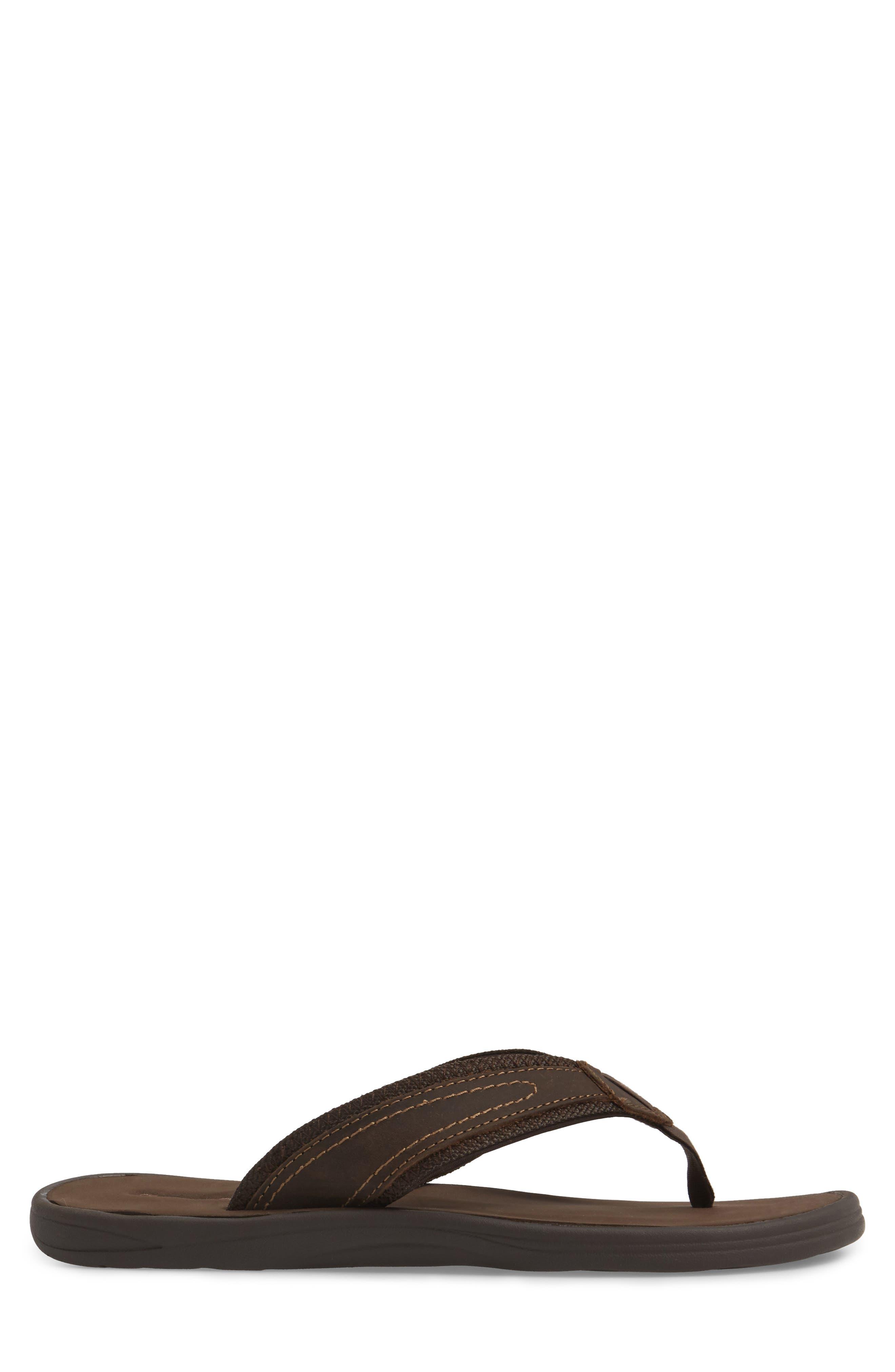 Seawell Flip Flop,                             Alternate thumbnail 3, color,                             Dark Brown Leather