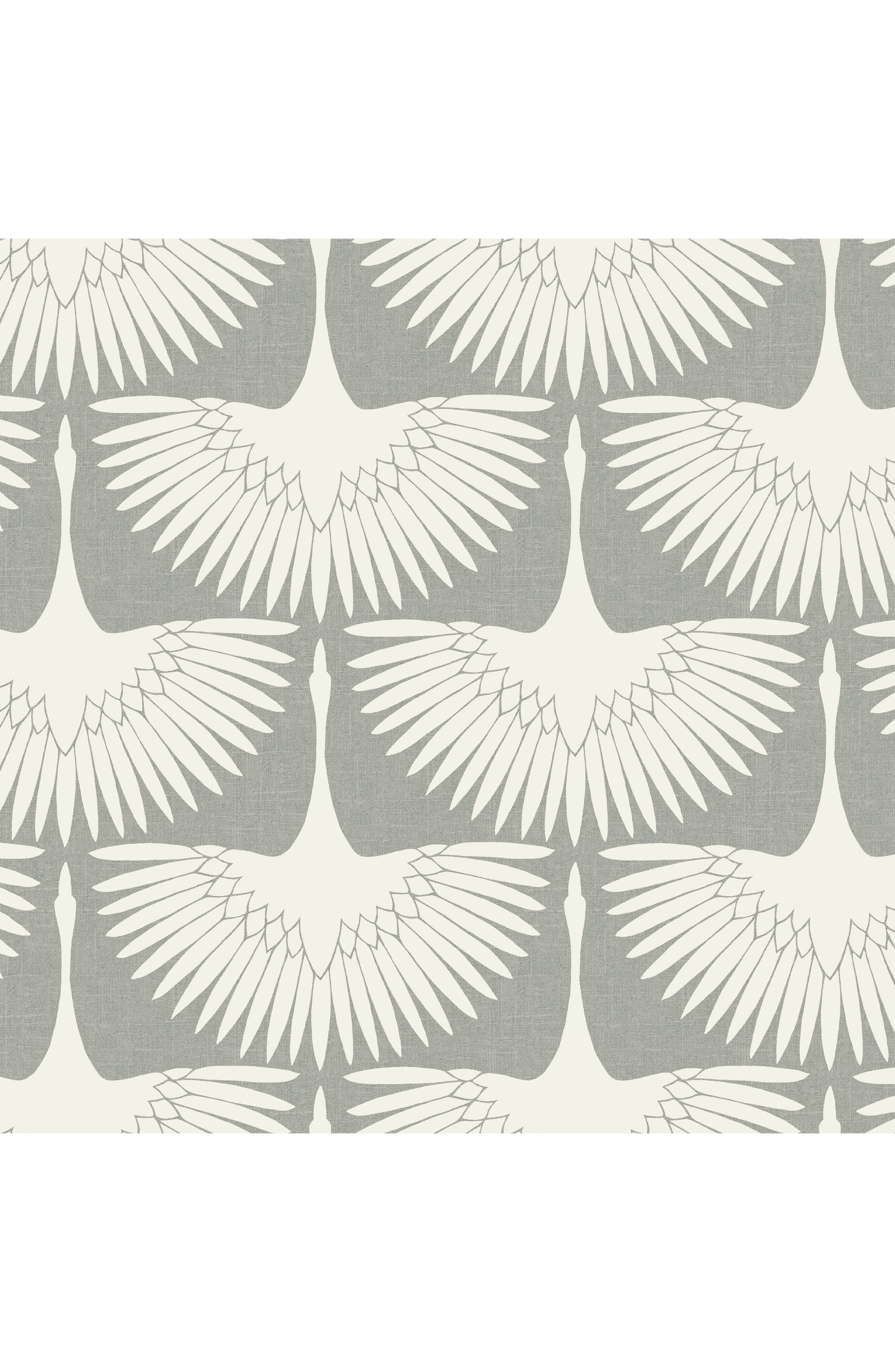 Feather Flock Vinyl Wallpaper,                             Main thumbnail 1, color,                             Chalk
