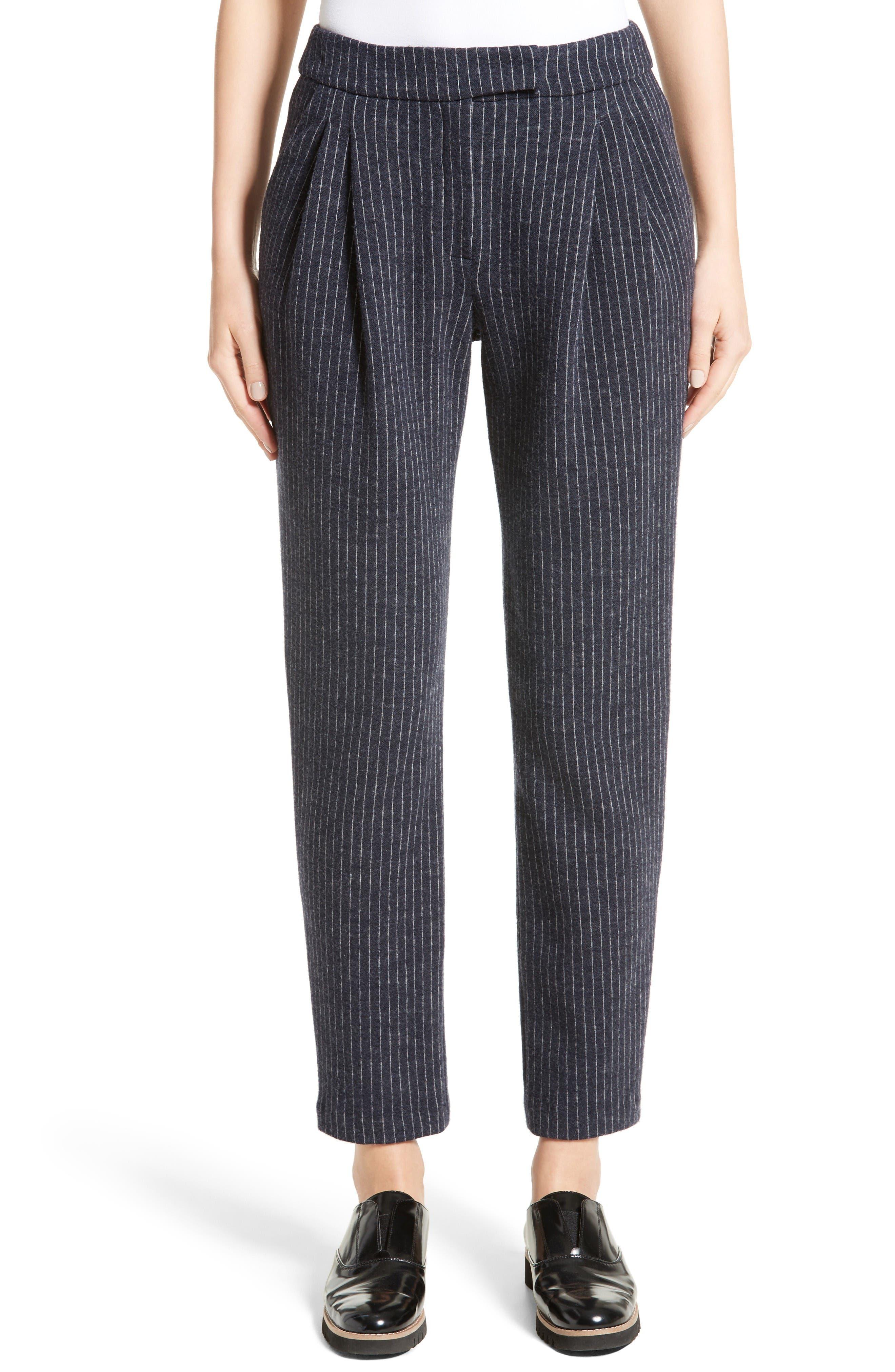 Armani Collezioni Pinstripe Pleat Front Jersey Pants