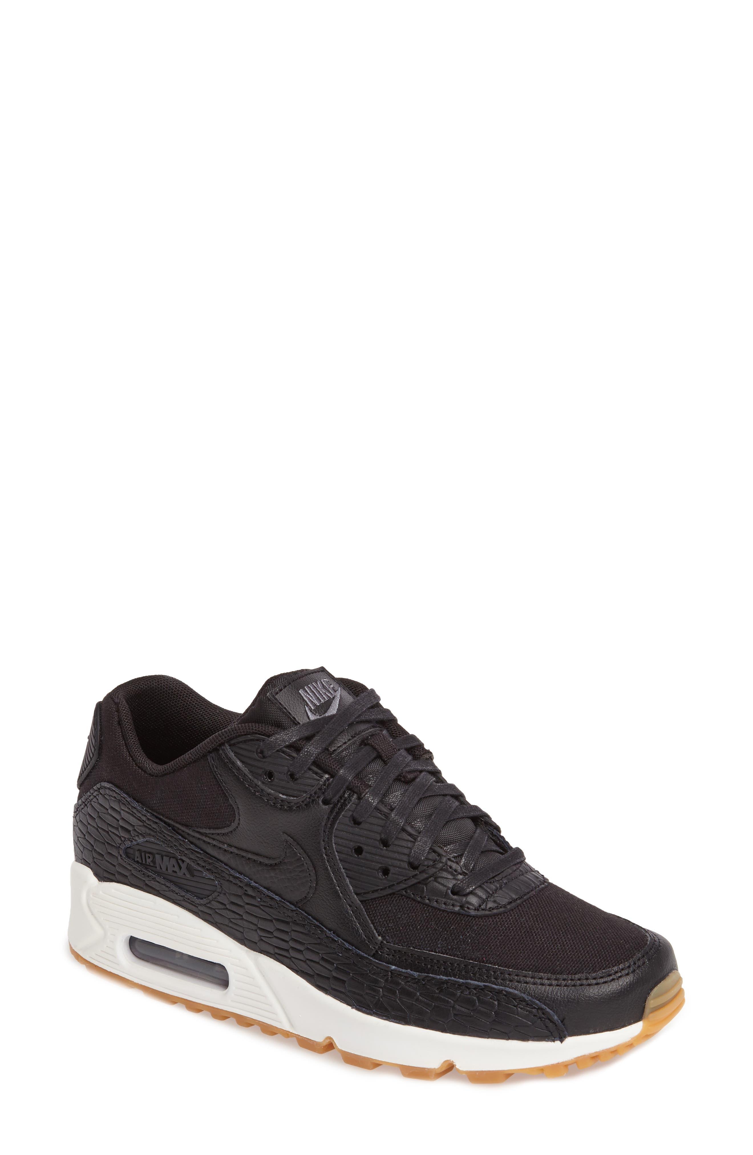 Air Max 90 Premium Leather Sneaker,                         Main,                         color, Black/ Dark Grey/ Ivory