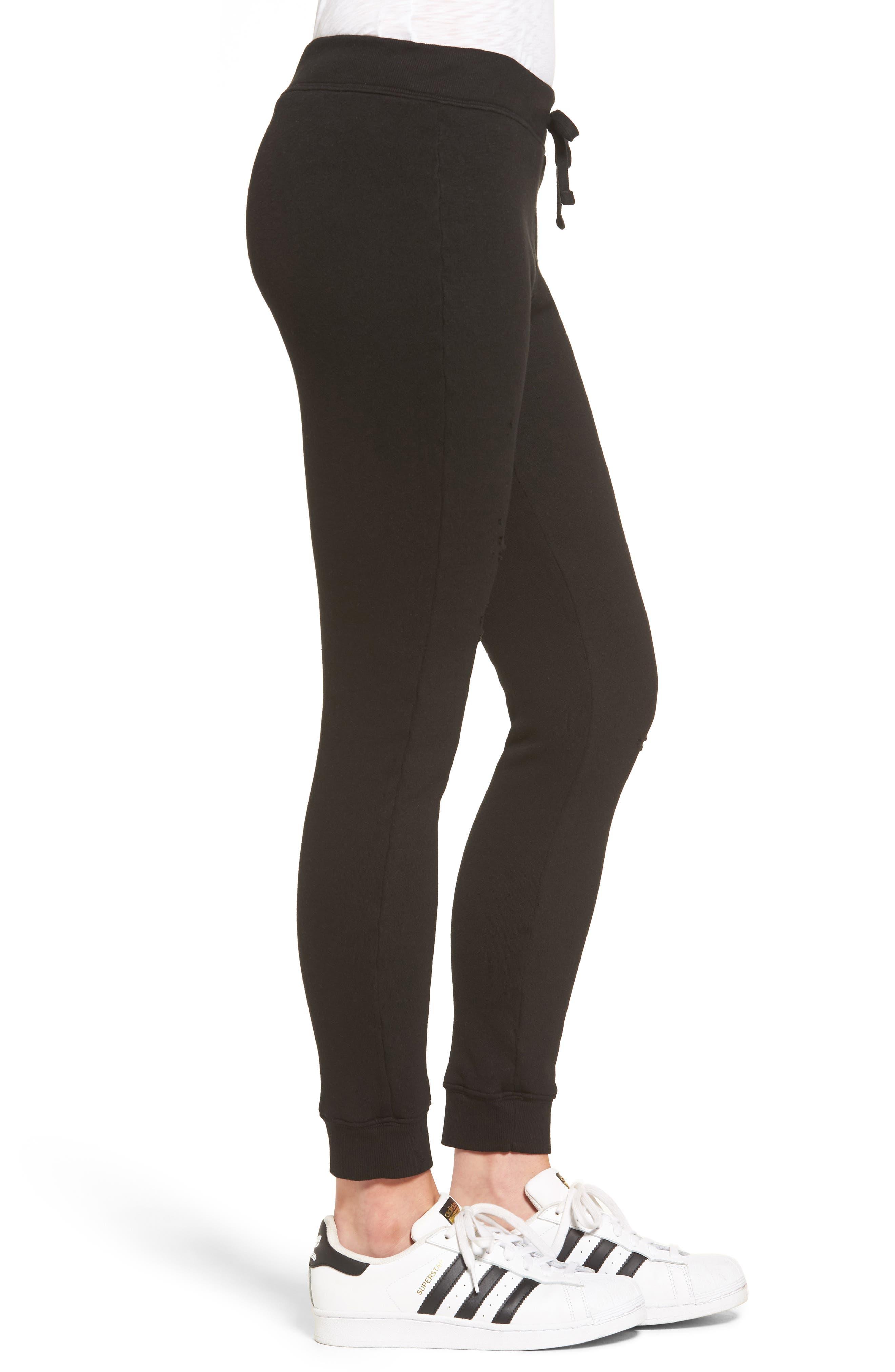 Betsee Distressed Jogger Pants,                             Alternate thumbnail 3, color,                             Black