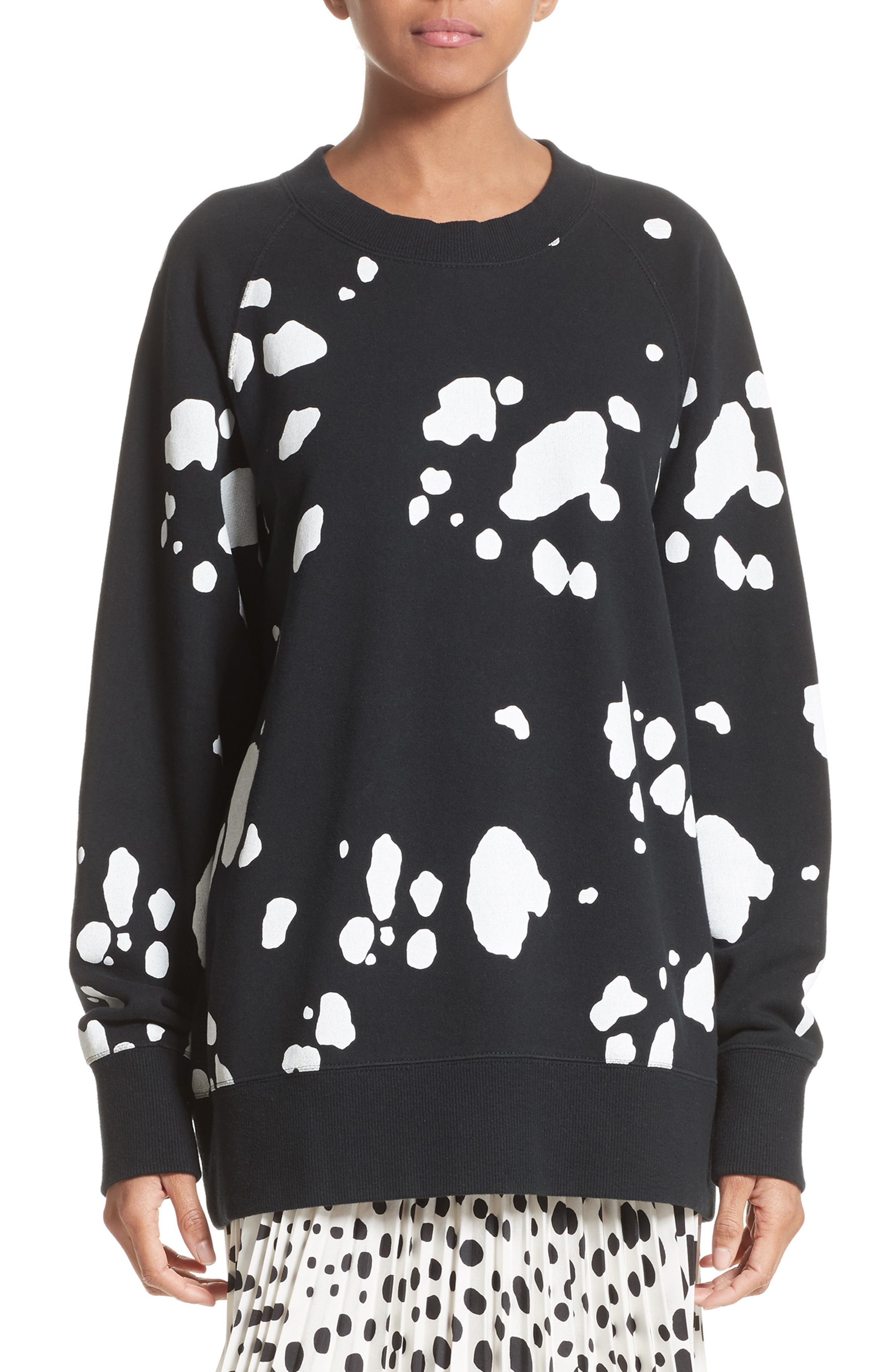 Dalmatian Print Sweatshirt,                             Main thumbnail 1, color,                             Black Multi
