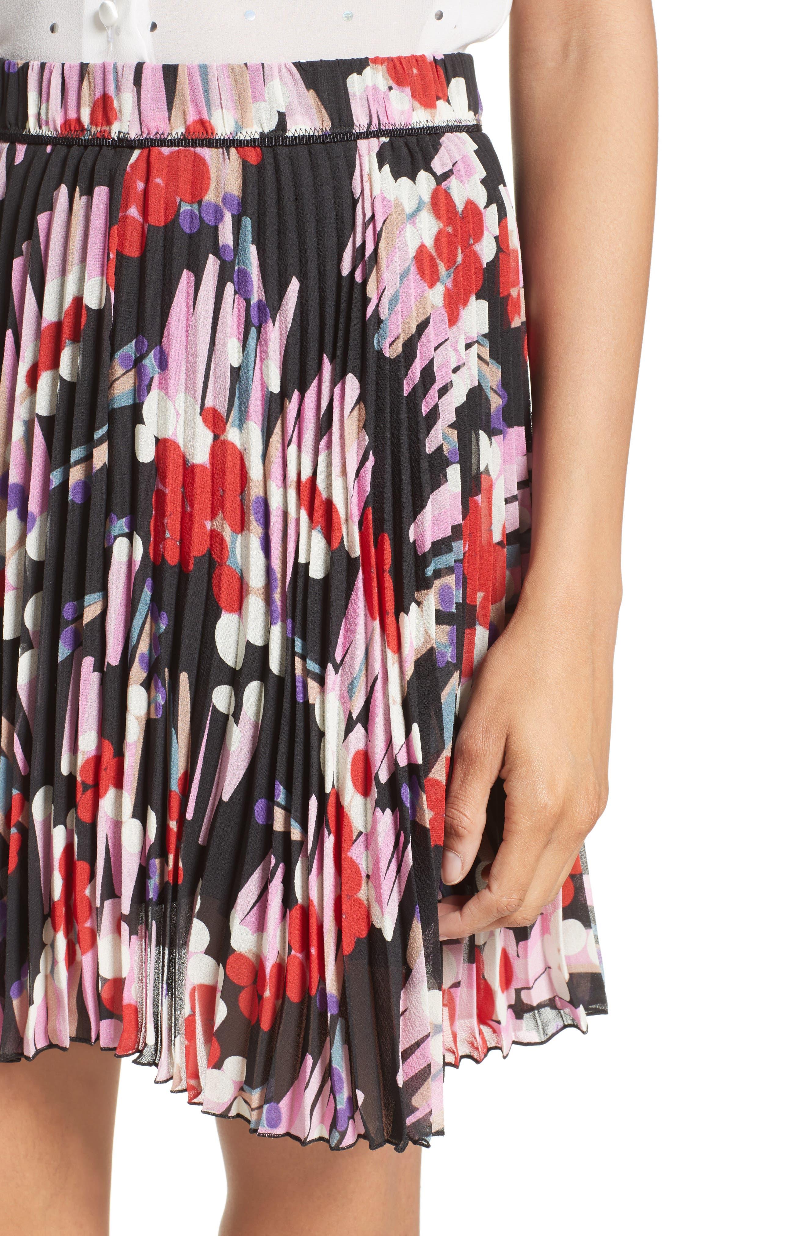 Pleated Print Silk Skirt,                             Alternate thumbnail 6, color,                             Black Multi