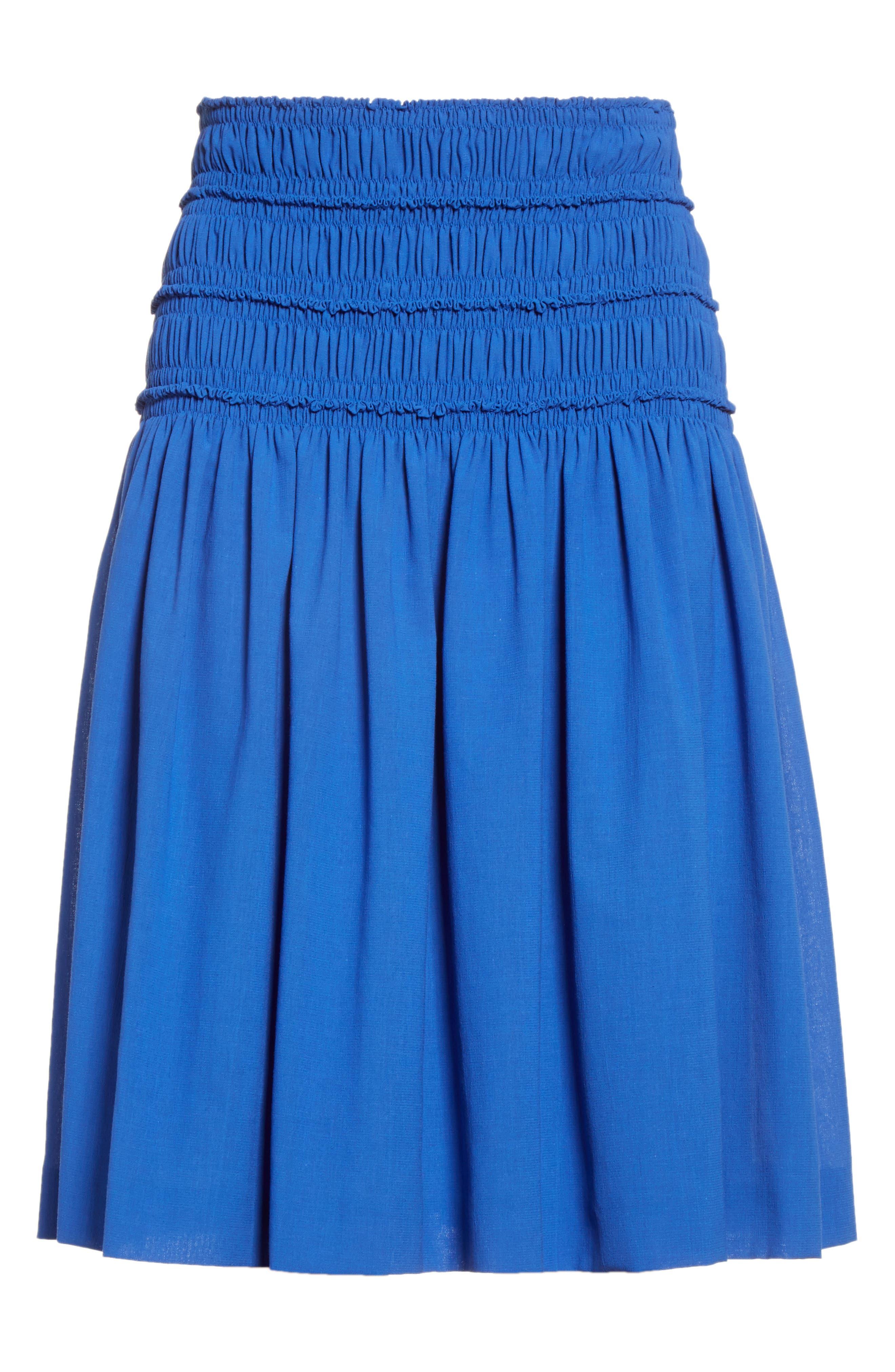 Akris Smocked Ruffle Skirt,                             Alternate thumbnail 4, color,                             Blue