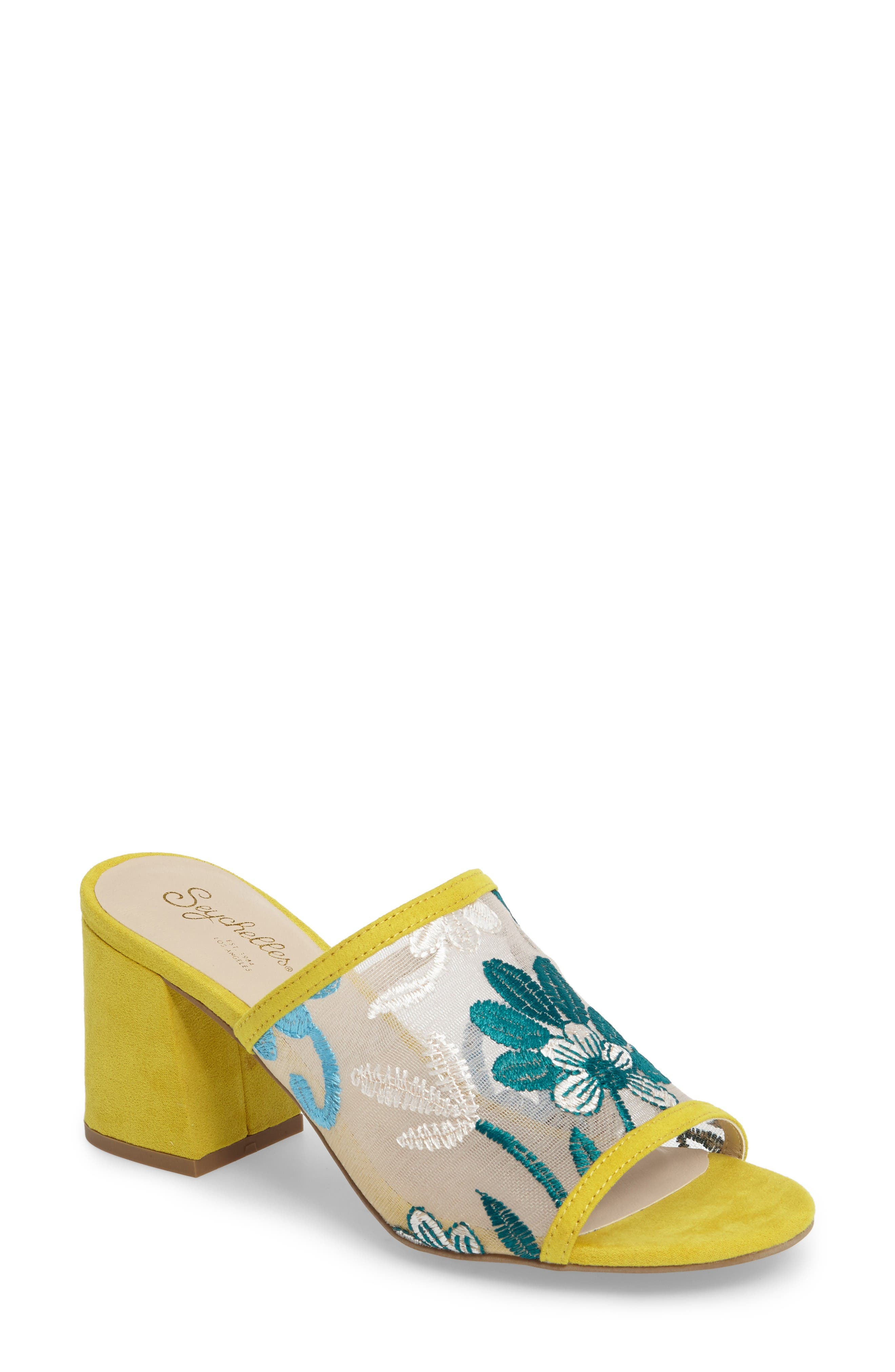 Nursery Block Heel Sandal,                             Main thumbnail 1, color,                             Yellow Suede