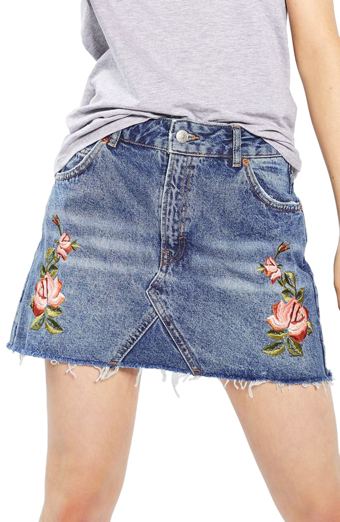 Alternate Image 6  - Topshop Rose Denim Miniskirt (Petite)