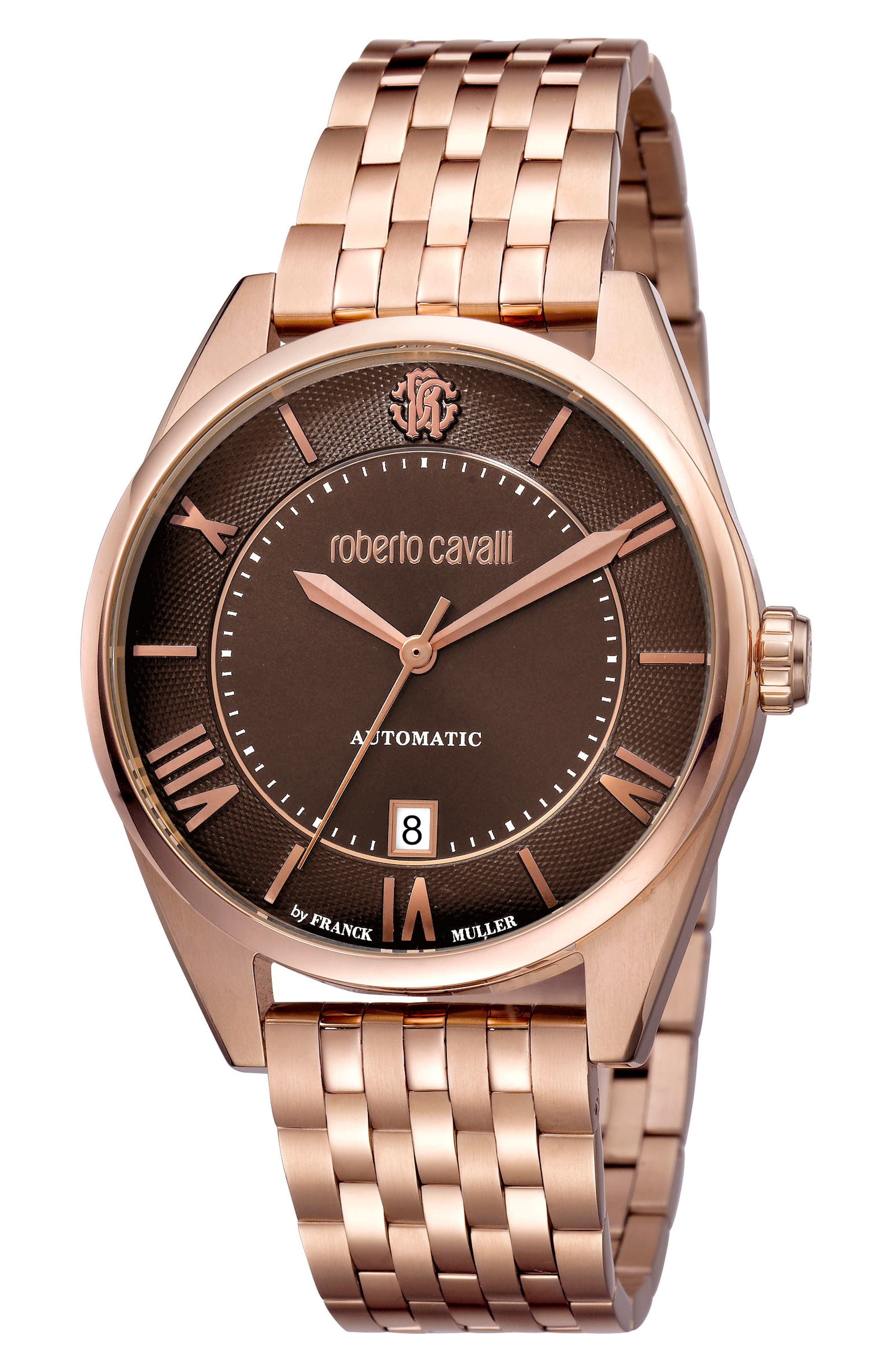 Automatic Bracelet Watch, 40mm,                         Main,                         color, Rose Gold/ Brown Guilloche