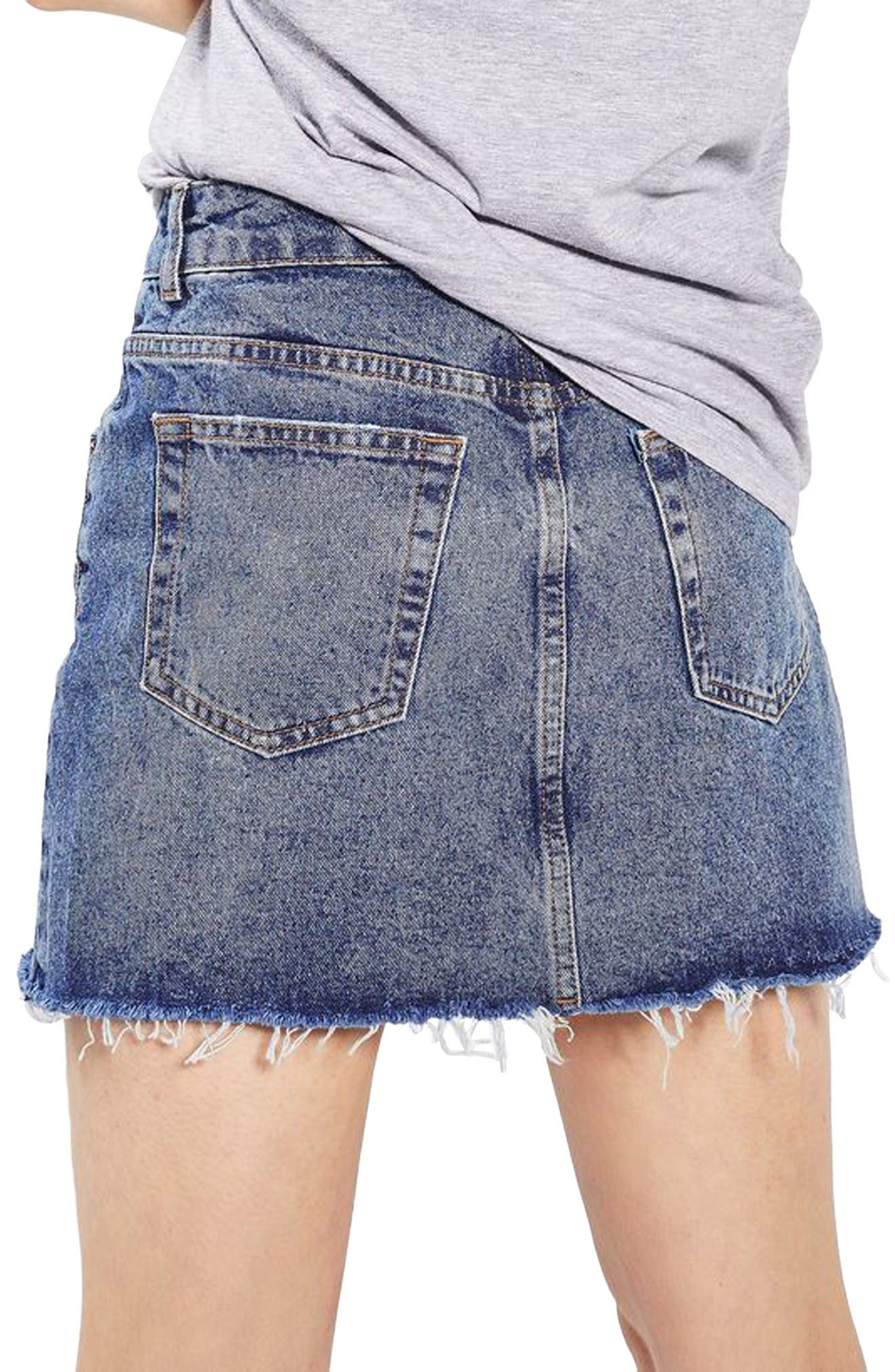 Alternate Image 3  - Topshop Rose Denim Miniskirt (Petite)