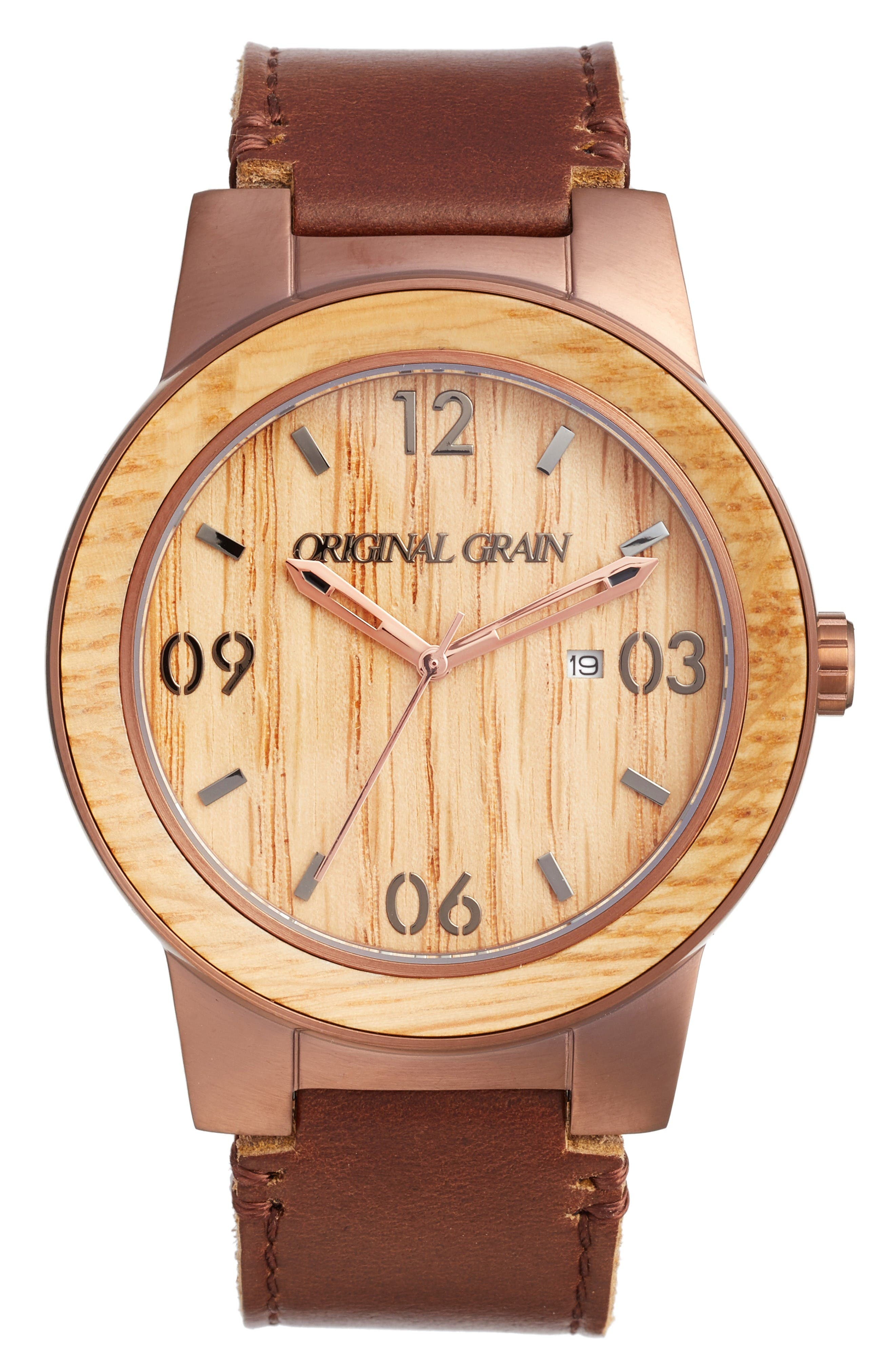 The Barrel Leather Strap Watch, 47mm,                         Main,                         color, Whiskey Oak/ Espresso