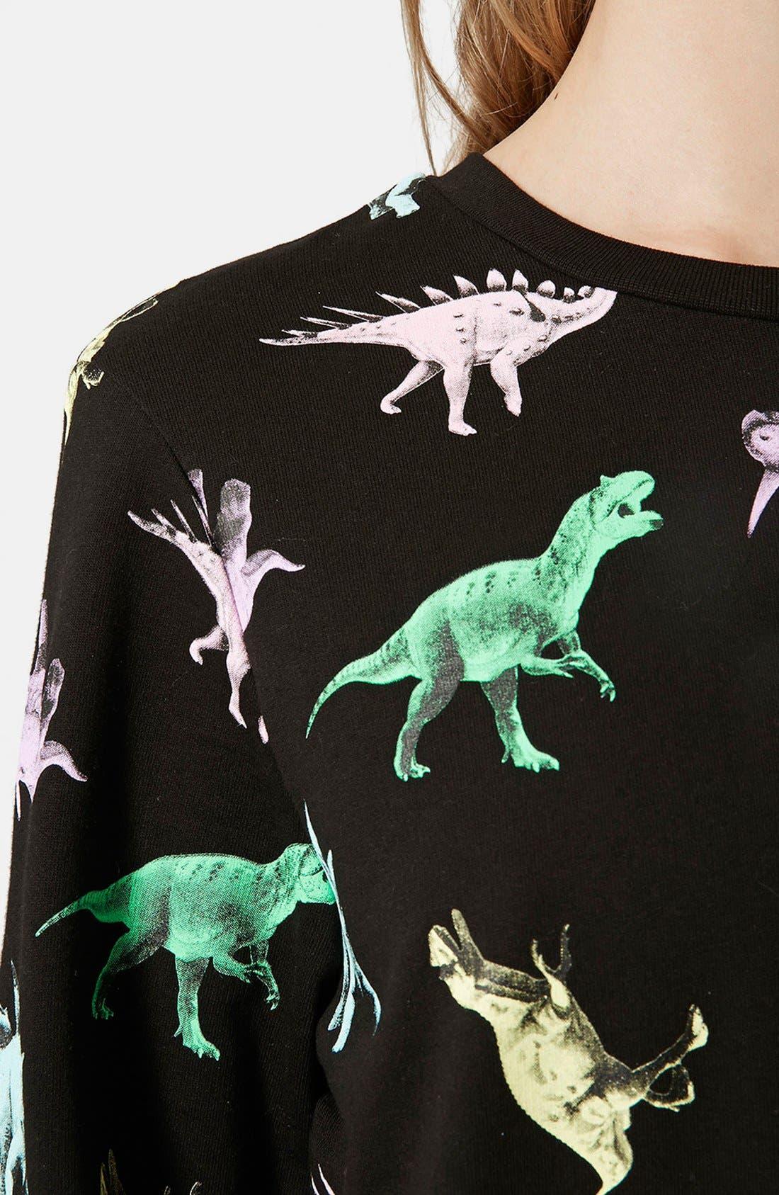Alternate Image 4  - Topshop Fleece Lined Dinosaur Sweatshirt