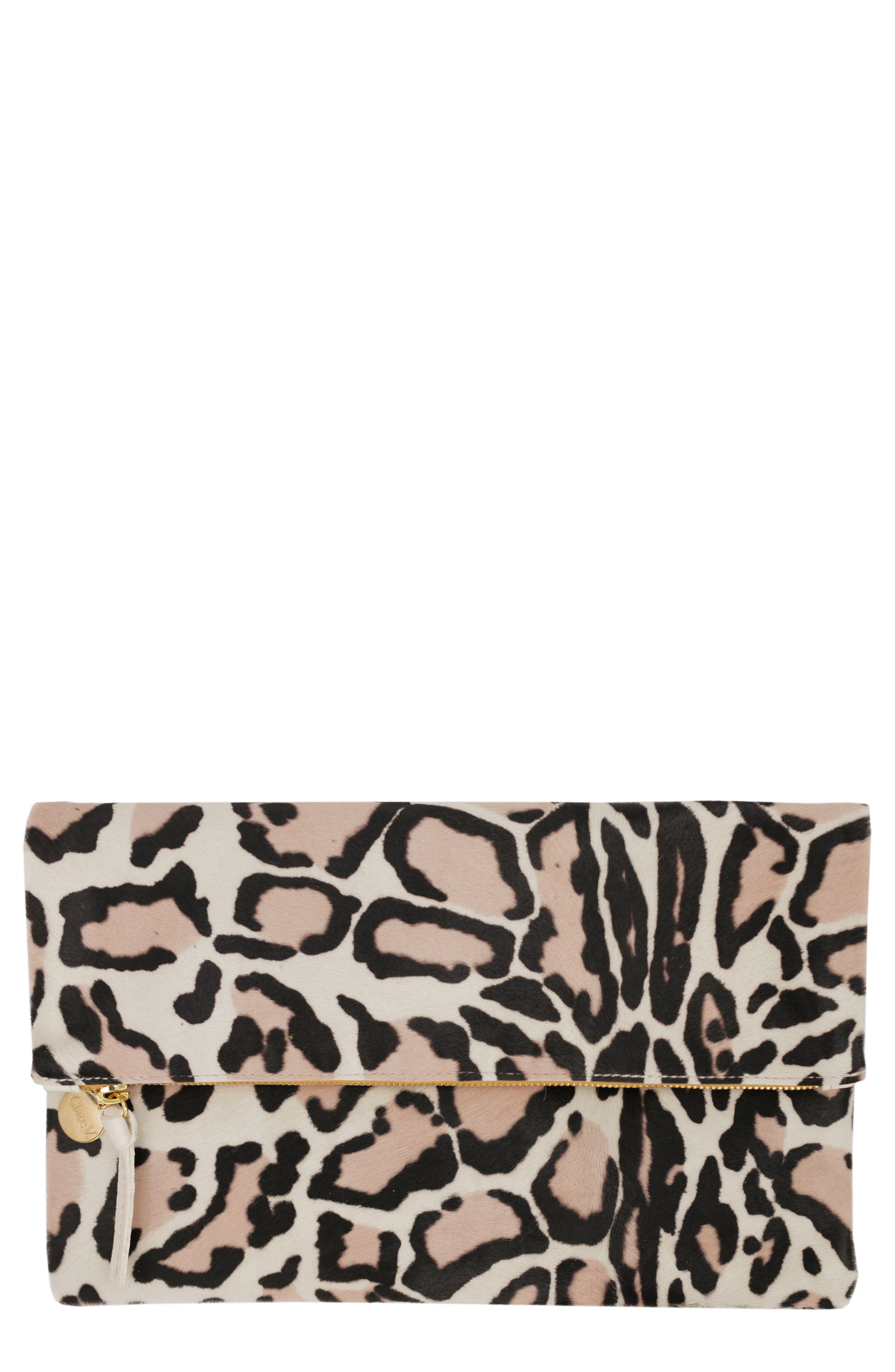 Clare V. Genuine Calf Hair Foldover Clutch