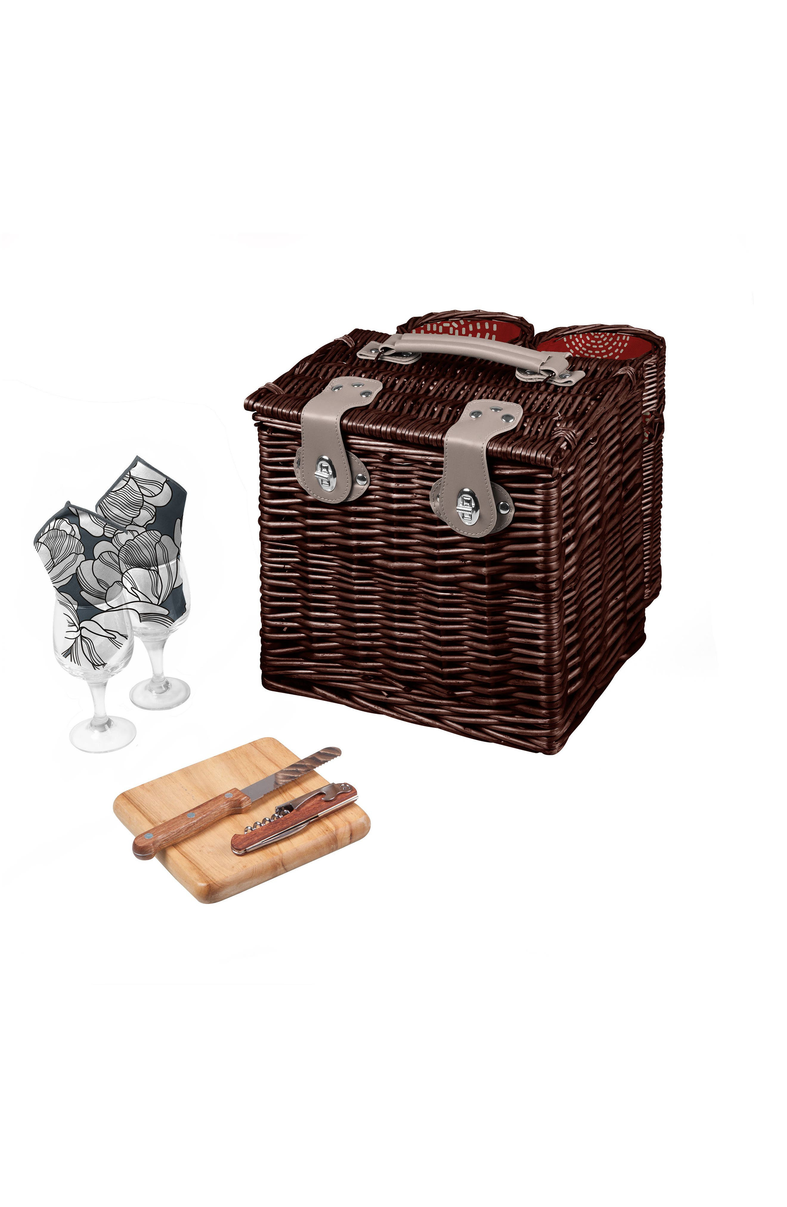 Vino Wine & Cheese Picnic Basket,                         Main,                         color, Red