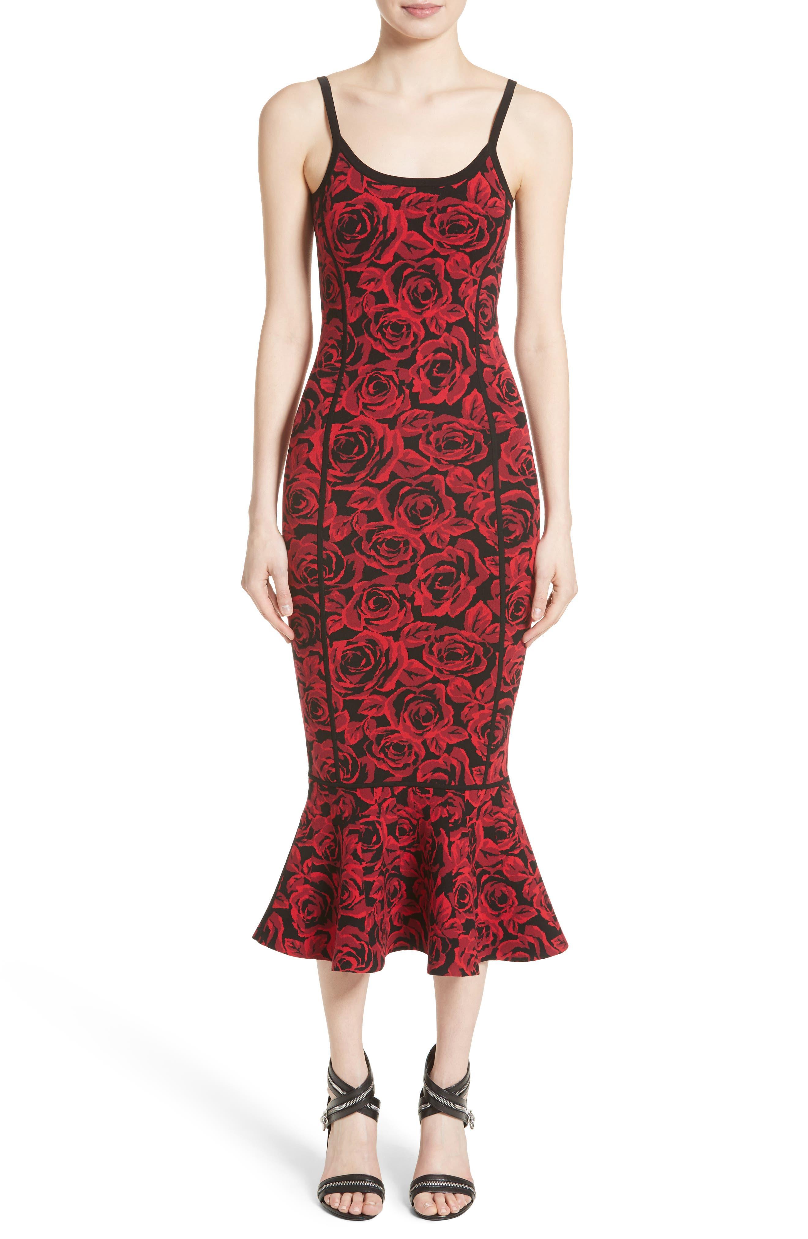 Stretch Rose Jacquard Tank Dress,                         Main,                         color, Crimson/ Black