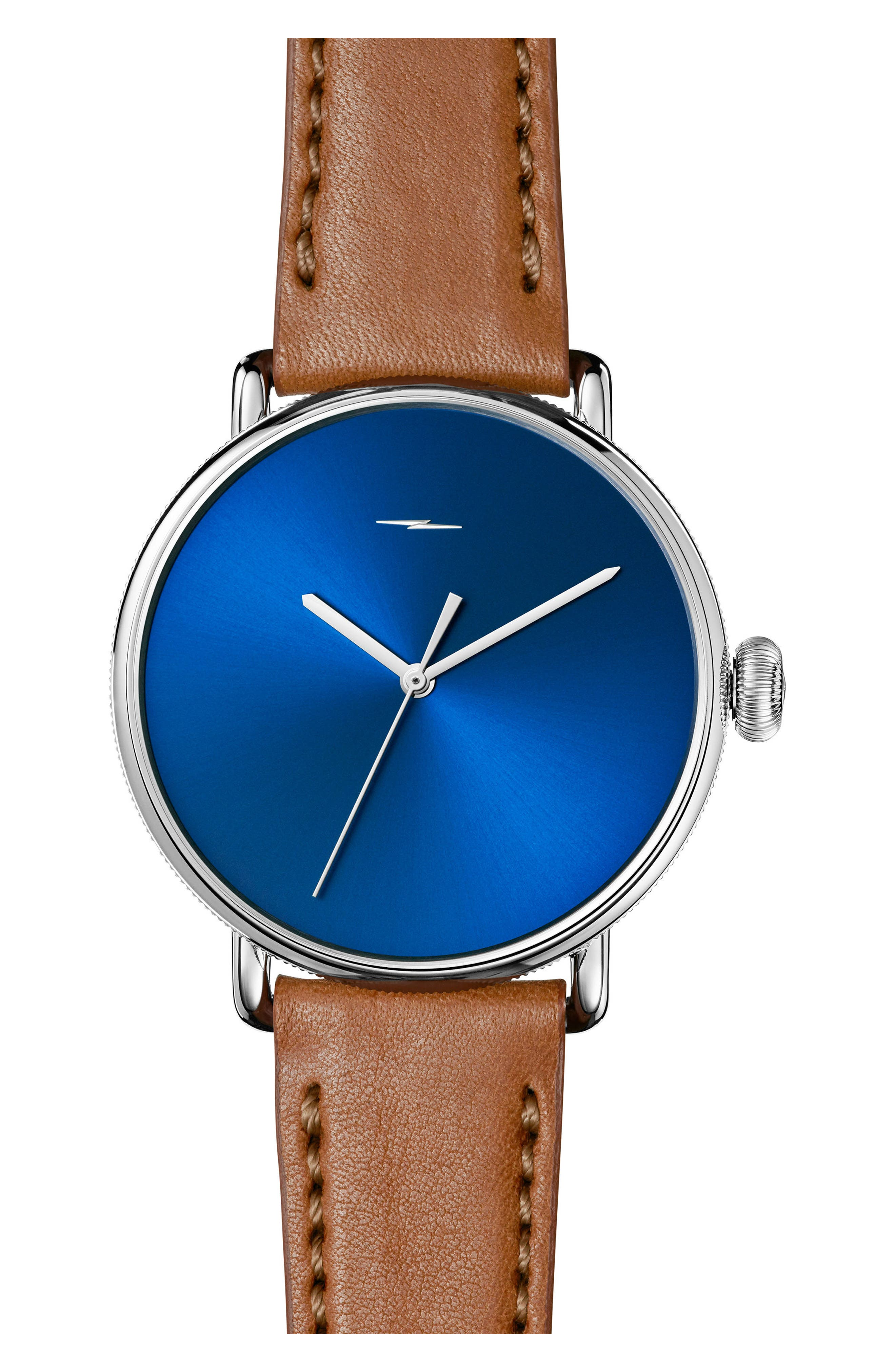Bolt Leather Strap Watch, 42mm,                         Main,                         color, Bourbon/ Blue Sunray/ Silver