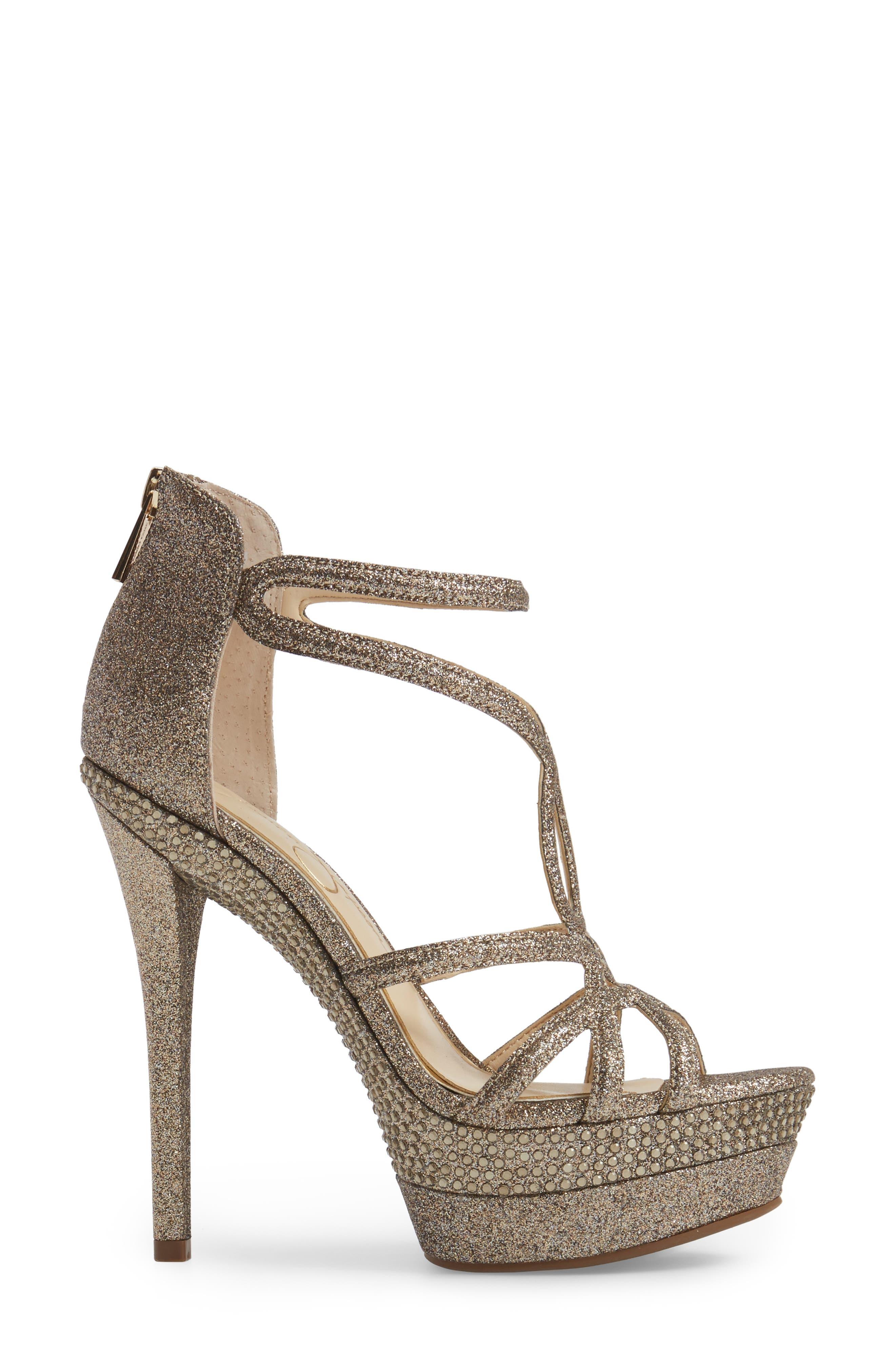 Rozmari Platform Sandal,                             Alternate thumbnail 3, color,                             Soft Gold