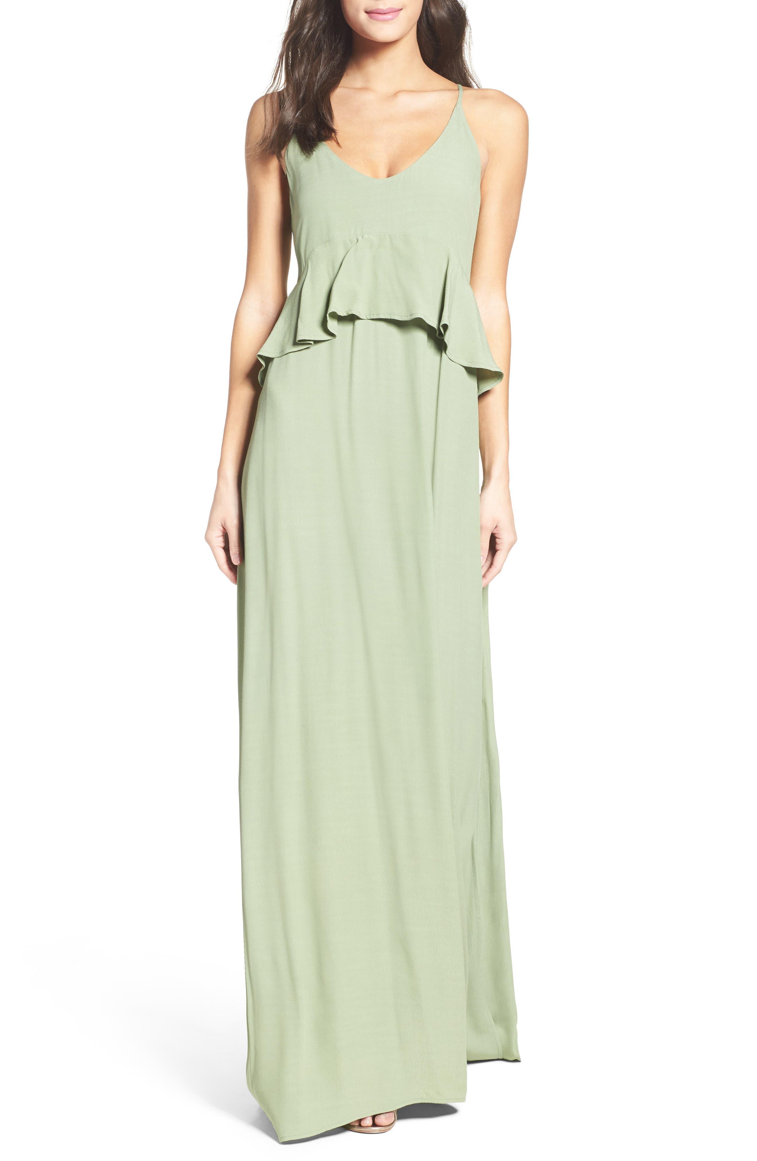 Roe + May Jolie Crepe Peplum Dress,                             Main thumbnail 1, color,                             Sage