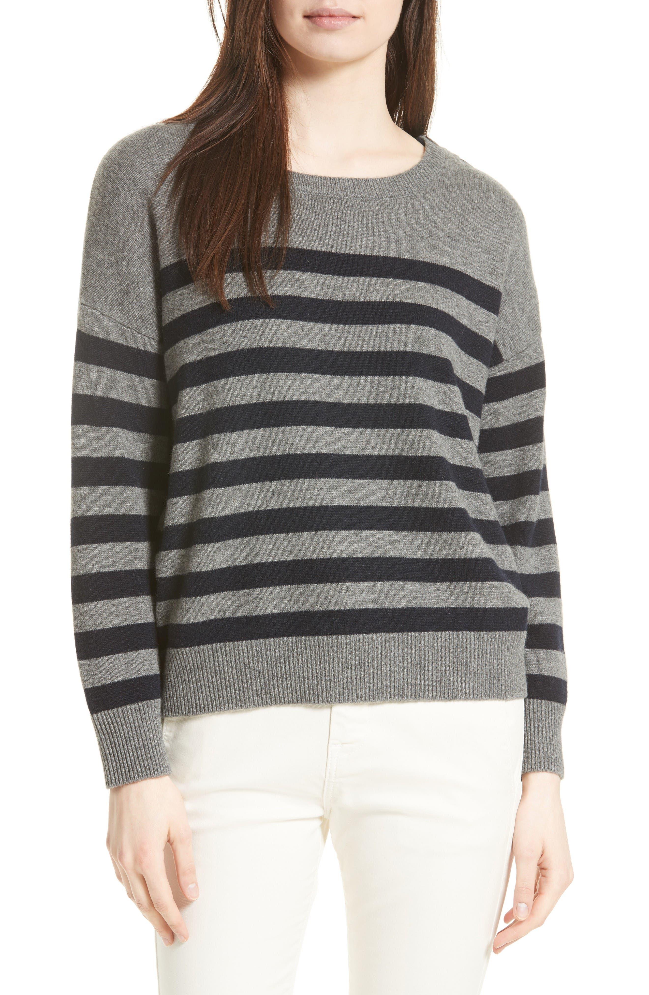 Button Shoulder Stripe Cashmere Sweater,                         Main,                         color, Stone/ Coastal