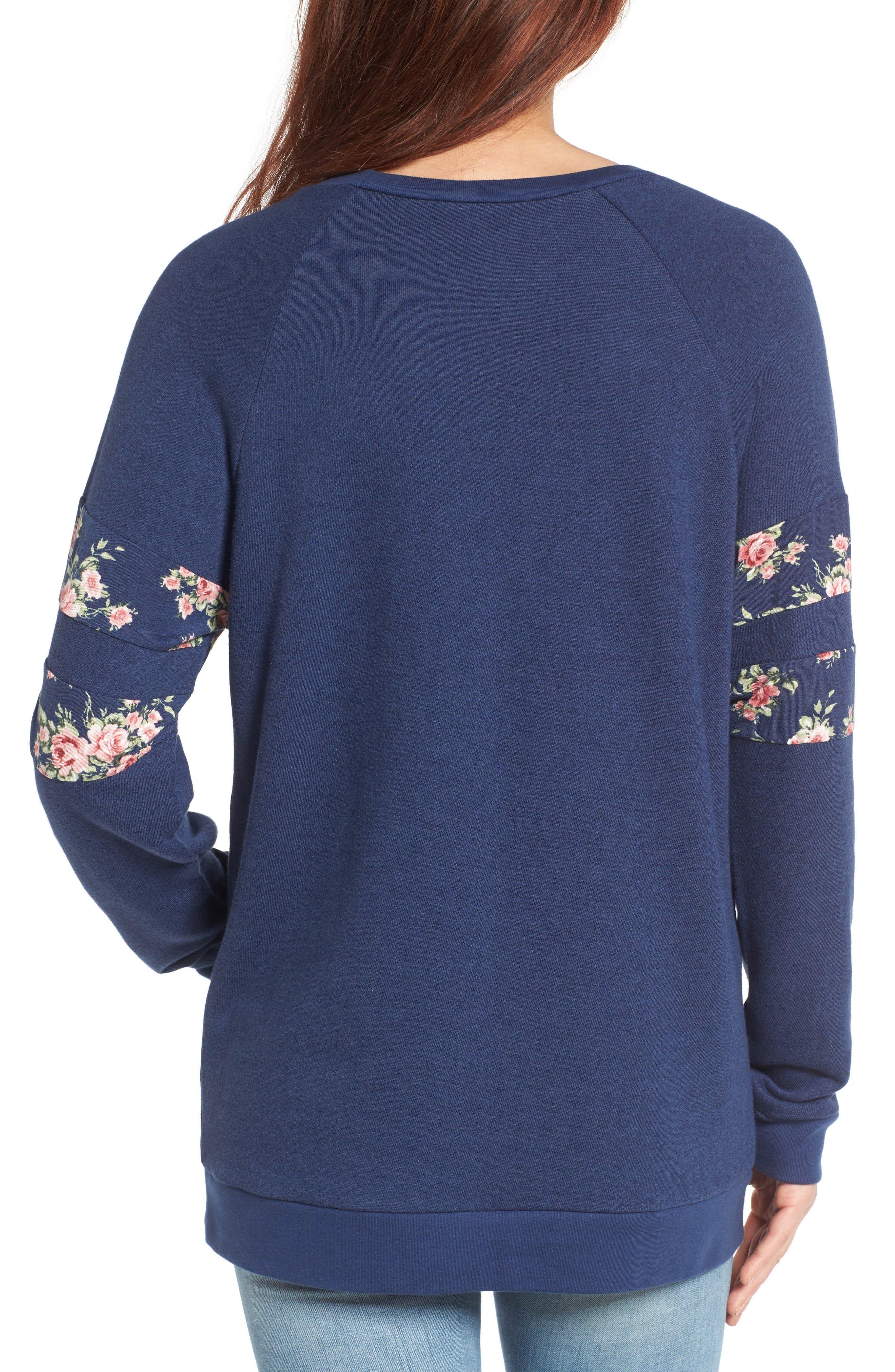 Print Detail Pocket Sweatshirt,                             Alternate thumbnail 2, color,                             Navy