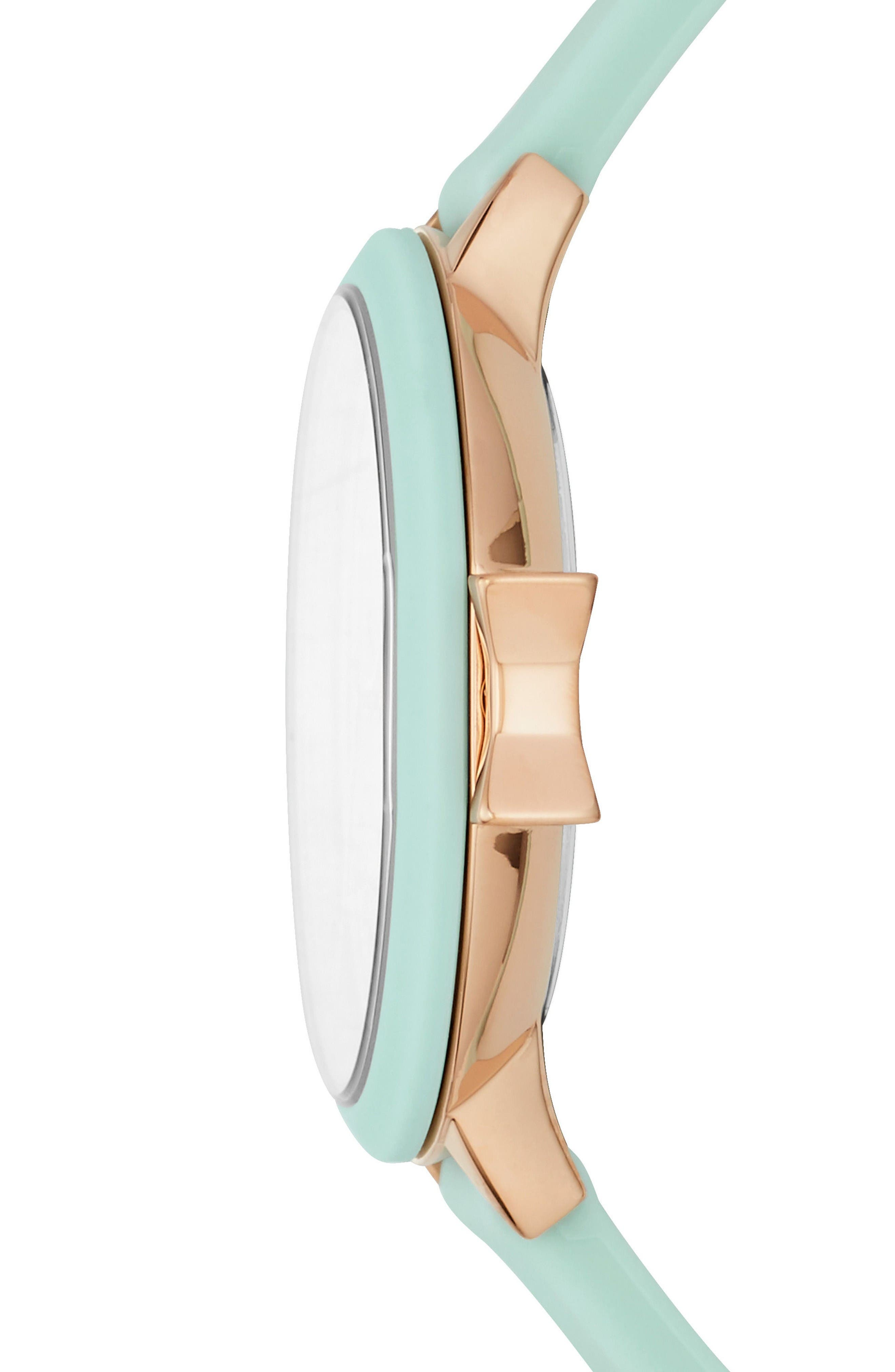 park row silicone strap watch, 34mm,                             Alternate thumbnail 2, color,                             Mint/ Gold